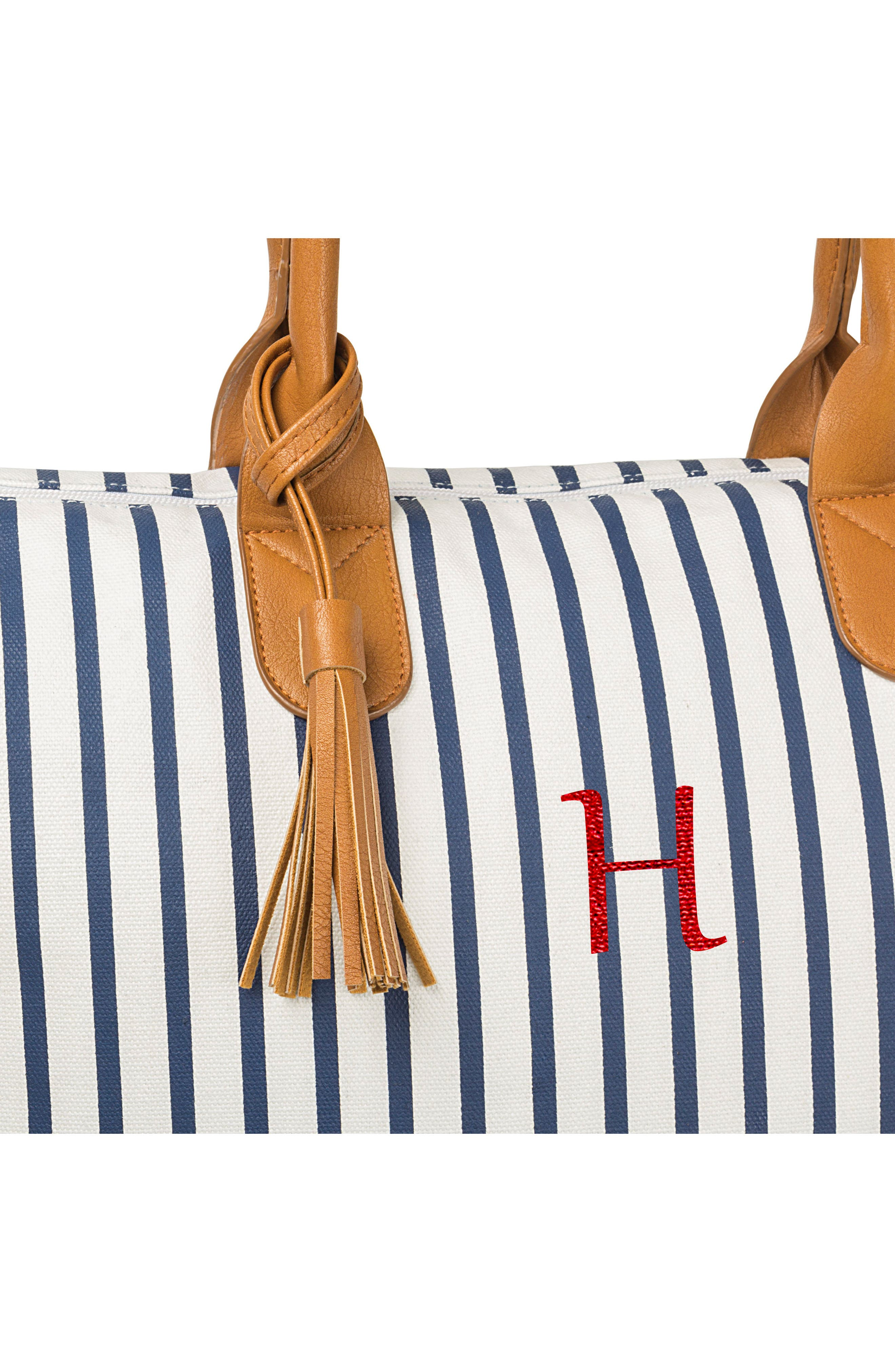 CATHY'S CONCEPTS, Monogram Oversized Tote, Alternate thumbnail 4, color, BLUE