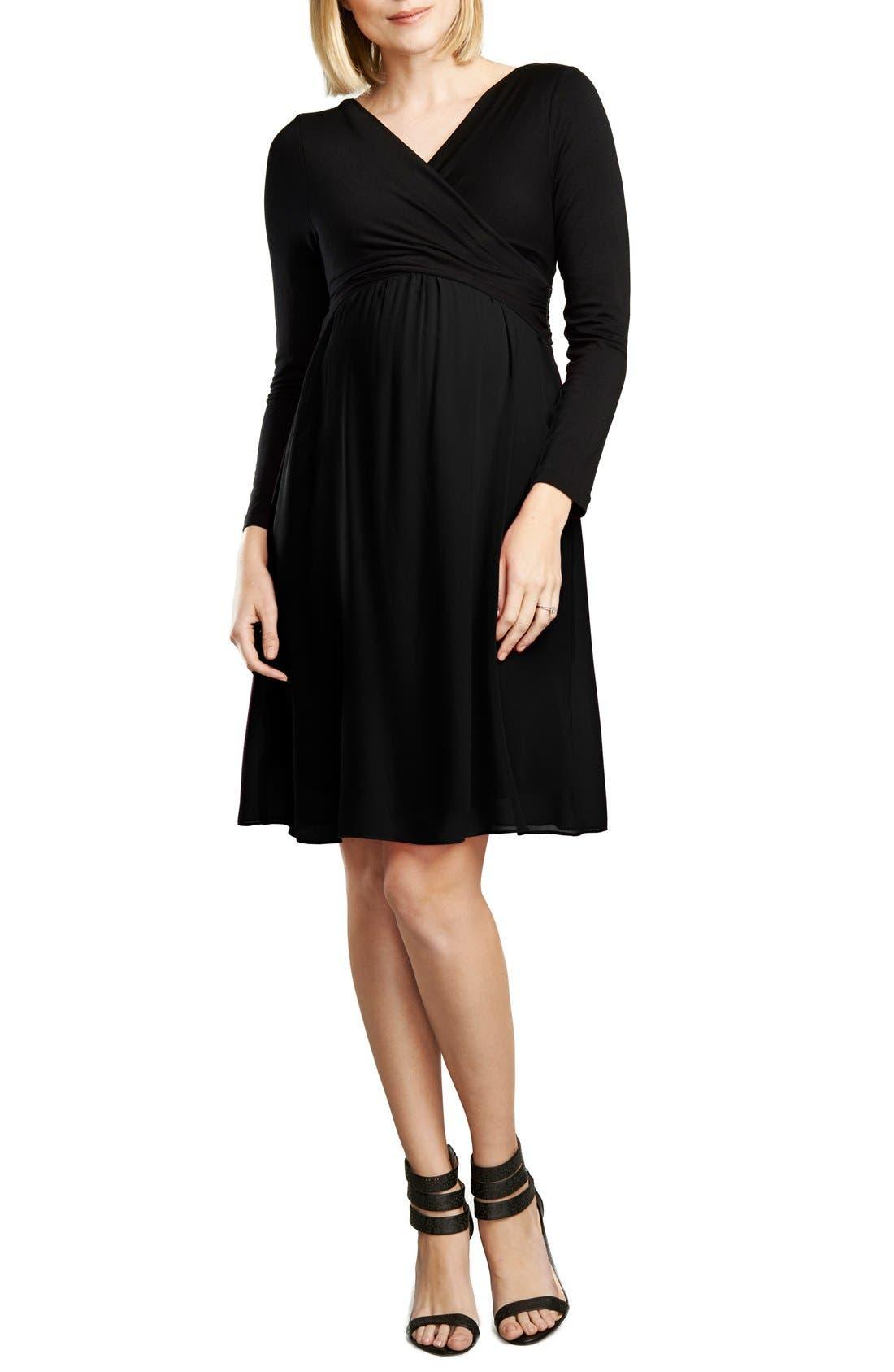 MATERNAL AMERICA, Crossover Maternity Dress, Main thumbnail 1, color, BLACK/BLACK