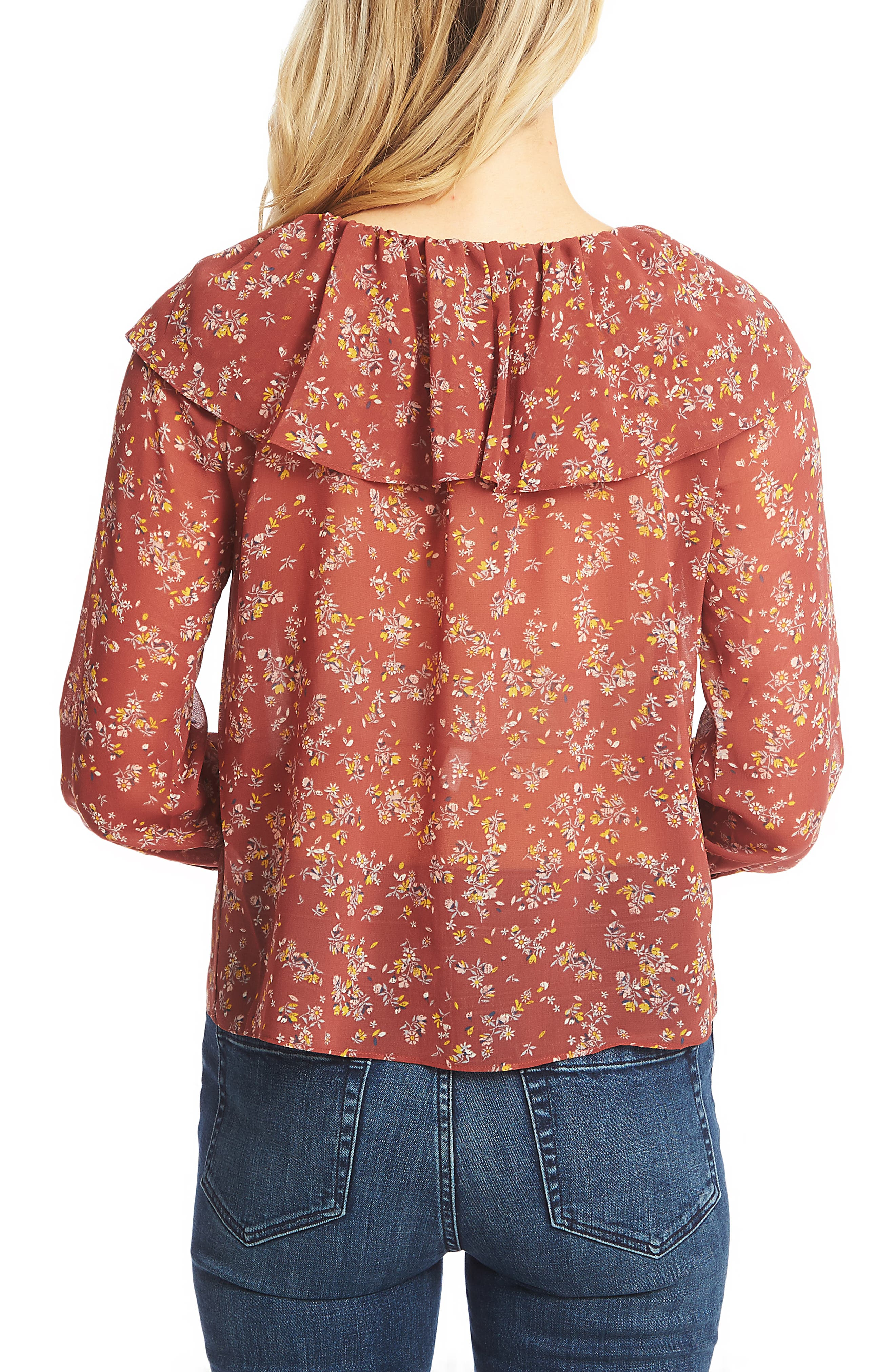 1.STATE, Heritage Bouquet Blouse, Alternate thumbnail 2, color, TERRA EARTH