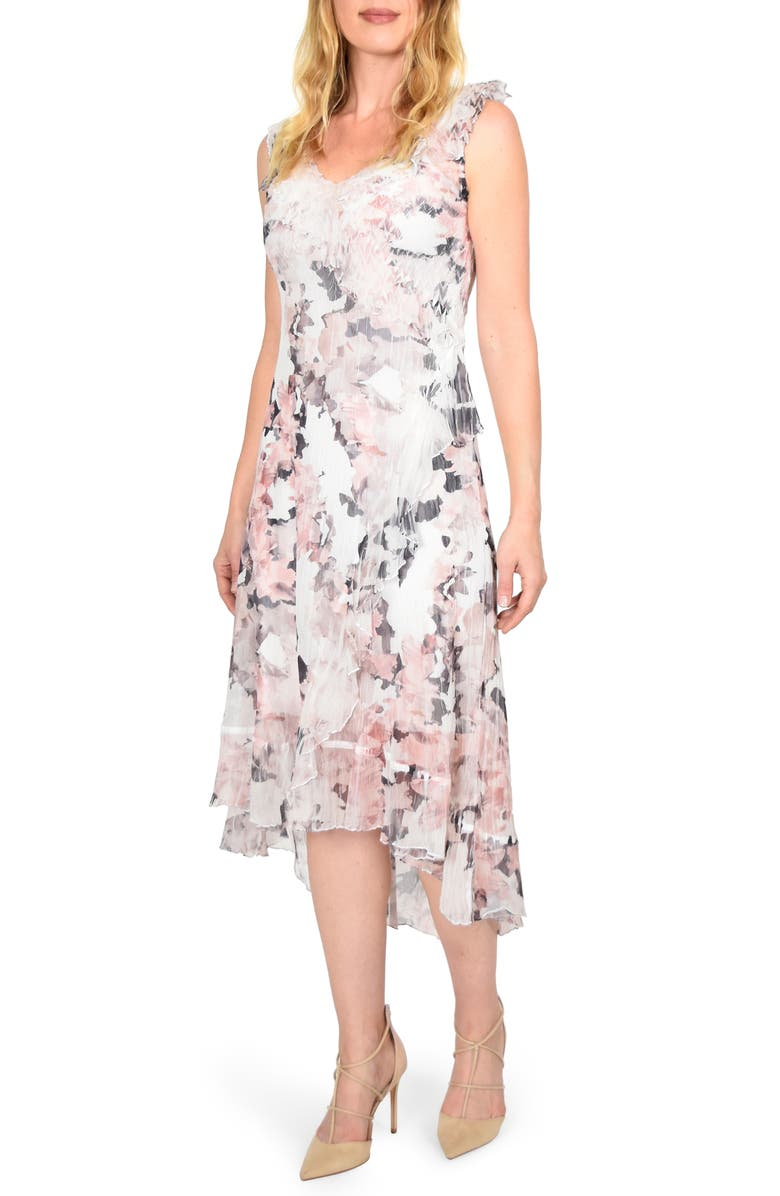 b89878cff05 Komarov Ruffle Trim Sleeveless Charmeuse Midi Dress