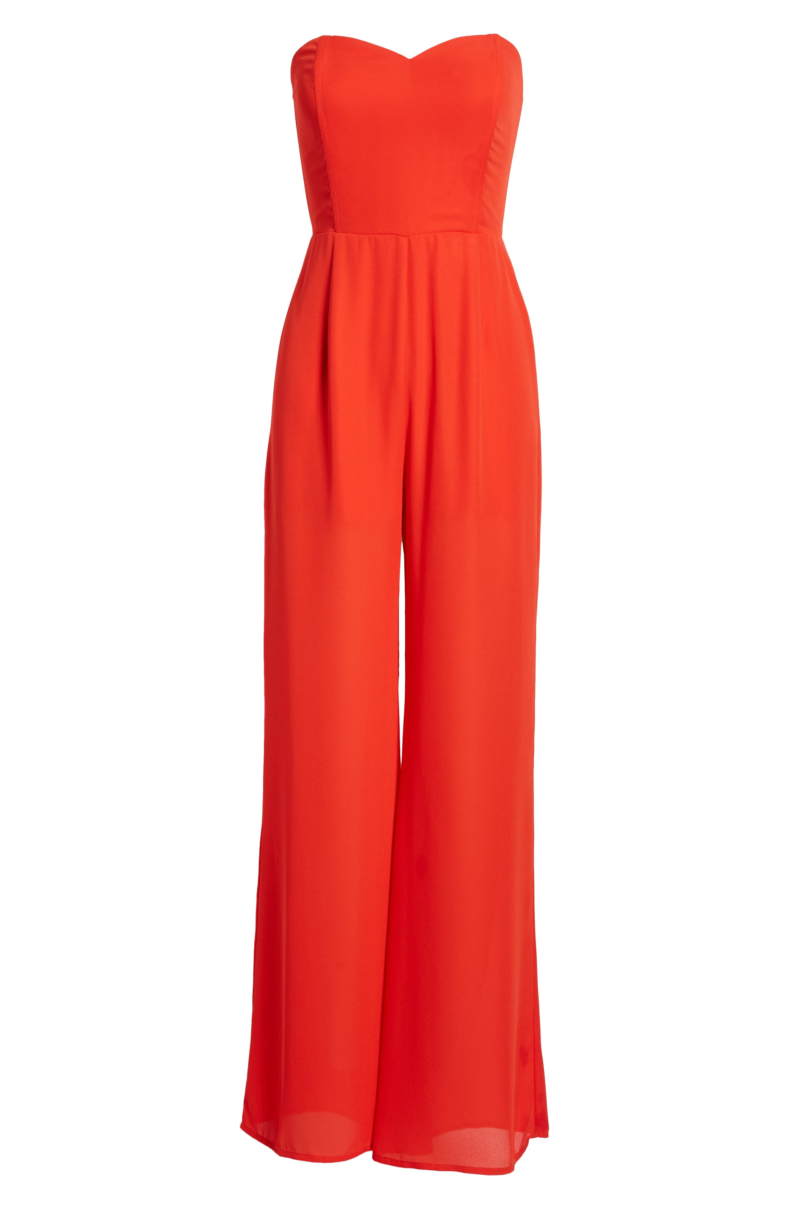 LEITH, Strapless Jumpsuit, Alternate thumbnail 7, color, RED SCARLET