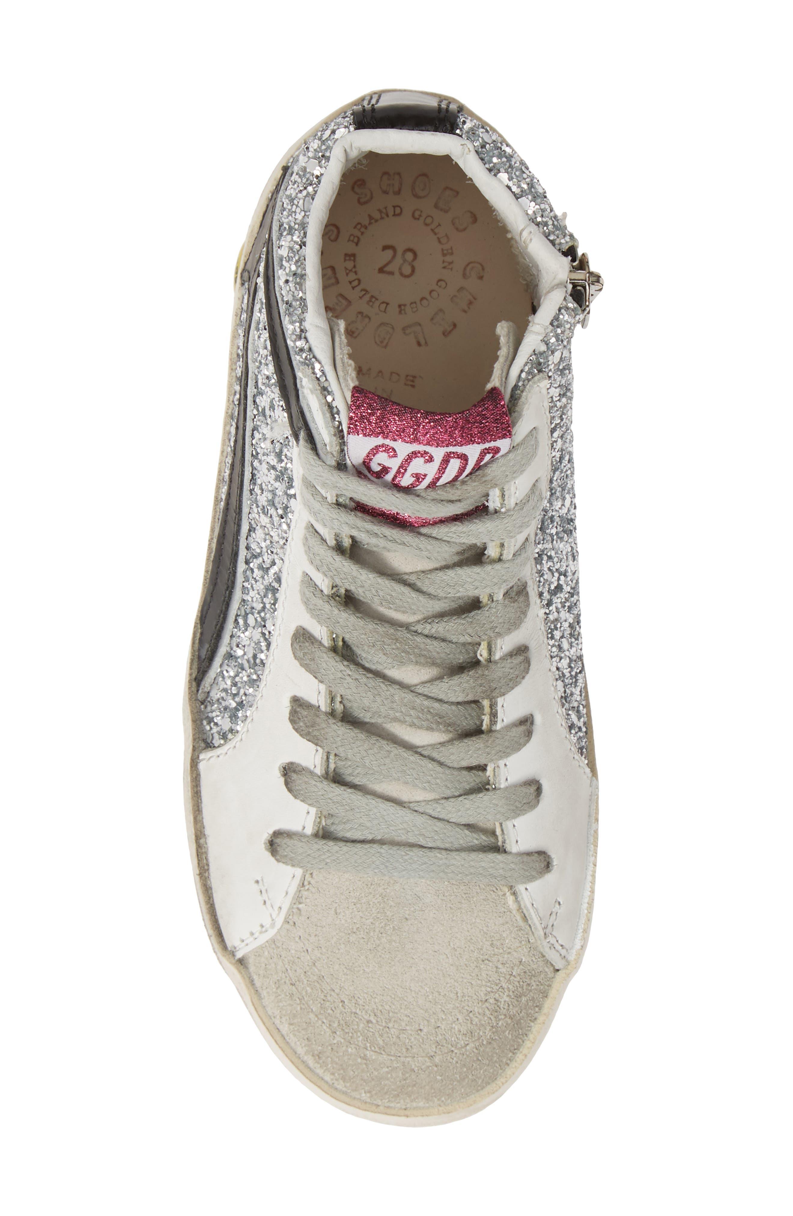 GOLDEN GOOSE, Slide Glitter High Top Sneaker, Alternate thumbnail 5, color, SILVER GLITTER/ BLACK SLIDE