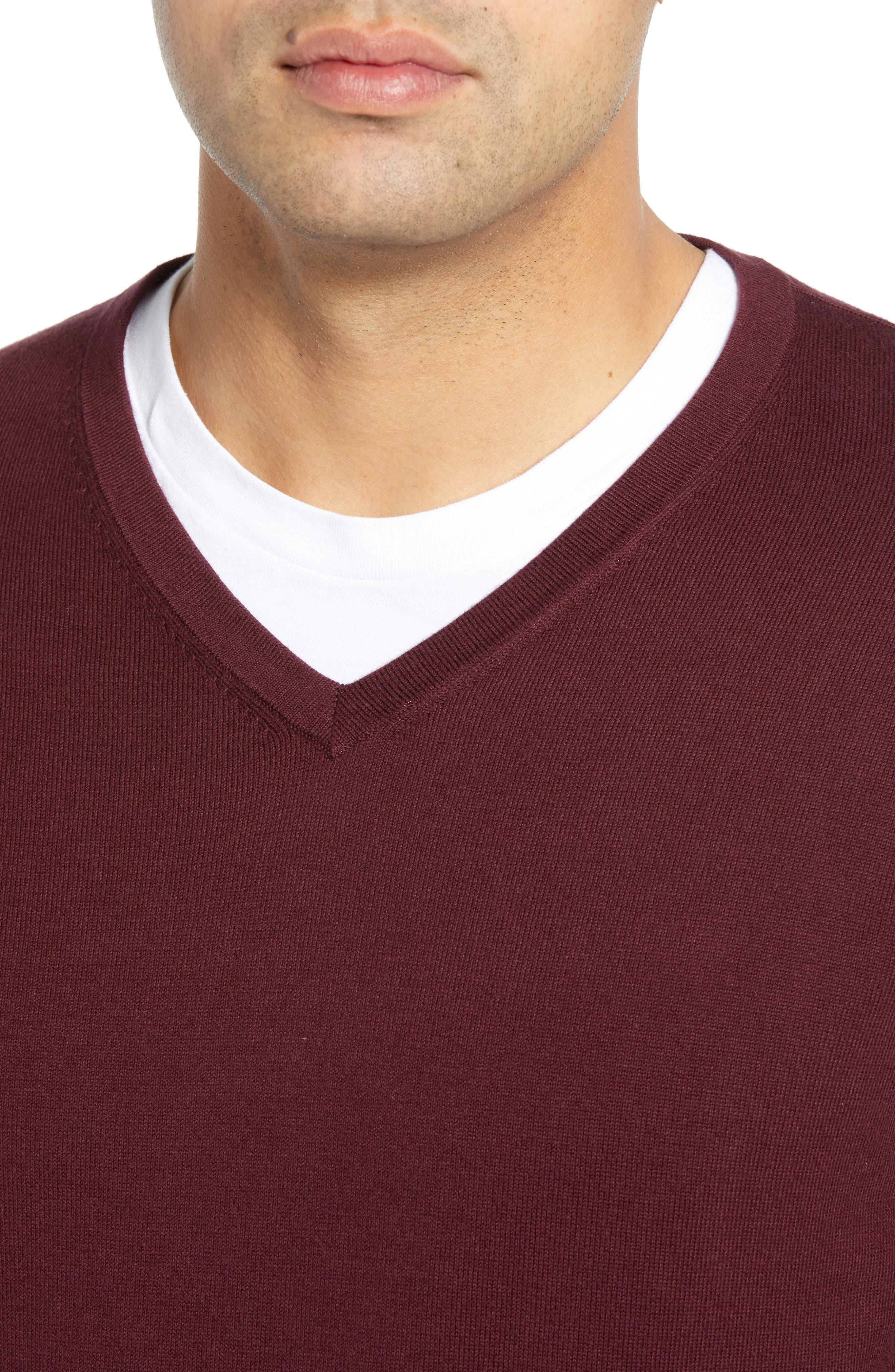 CUTTER & BUCK, Lakemont V-Neck Sweater, Alternate thumbnail 4, color, BORDEAUX