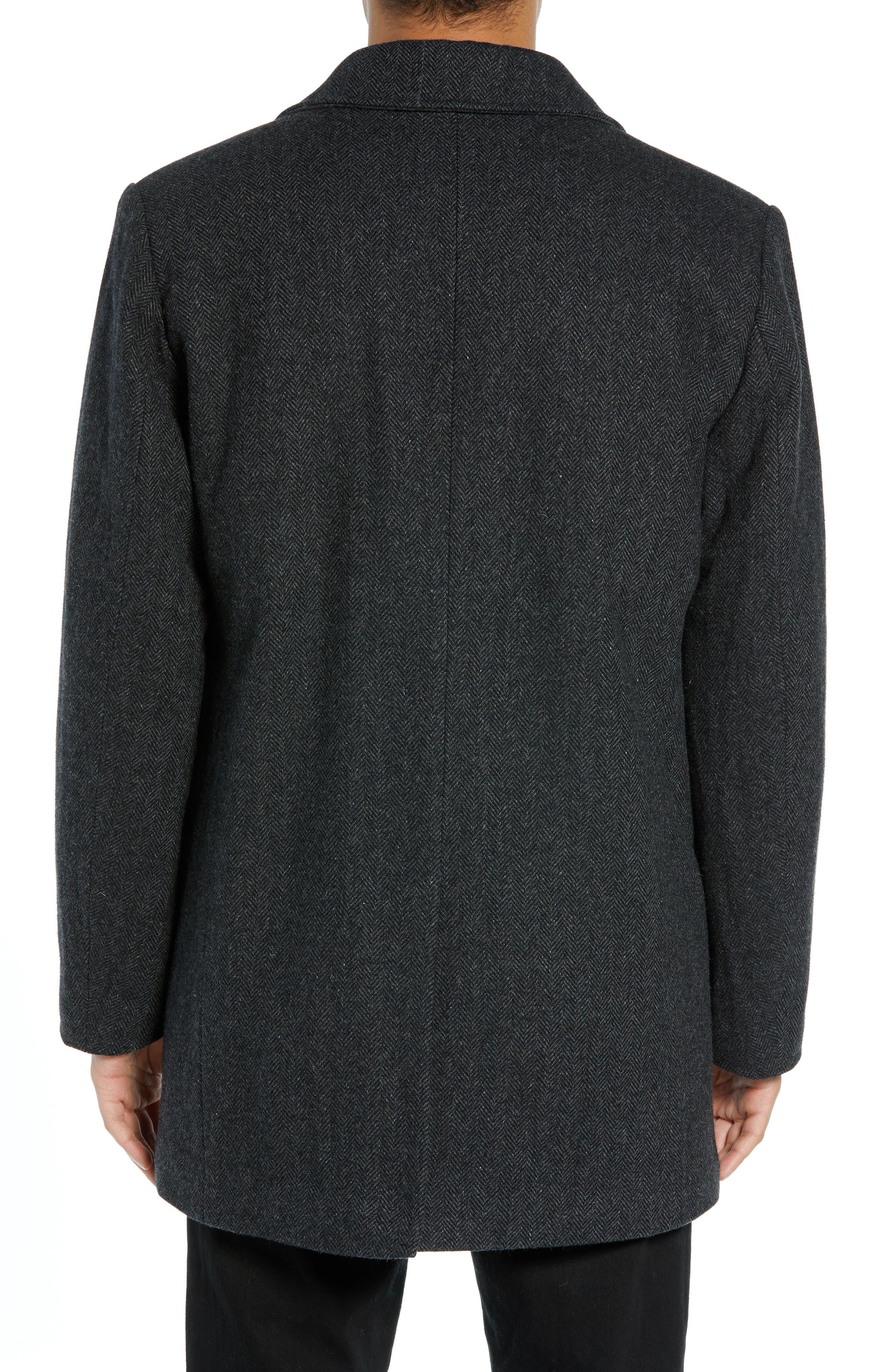 PENDLETON, Iconic Textures Manhattan Wool Blend Top Coat, Alternate thumbnail 2, color, CHARCOAL HERRINGBONE