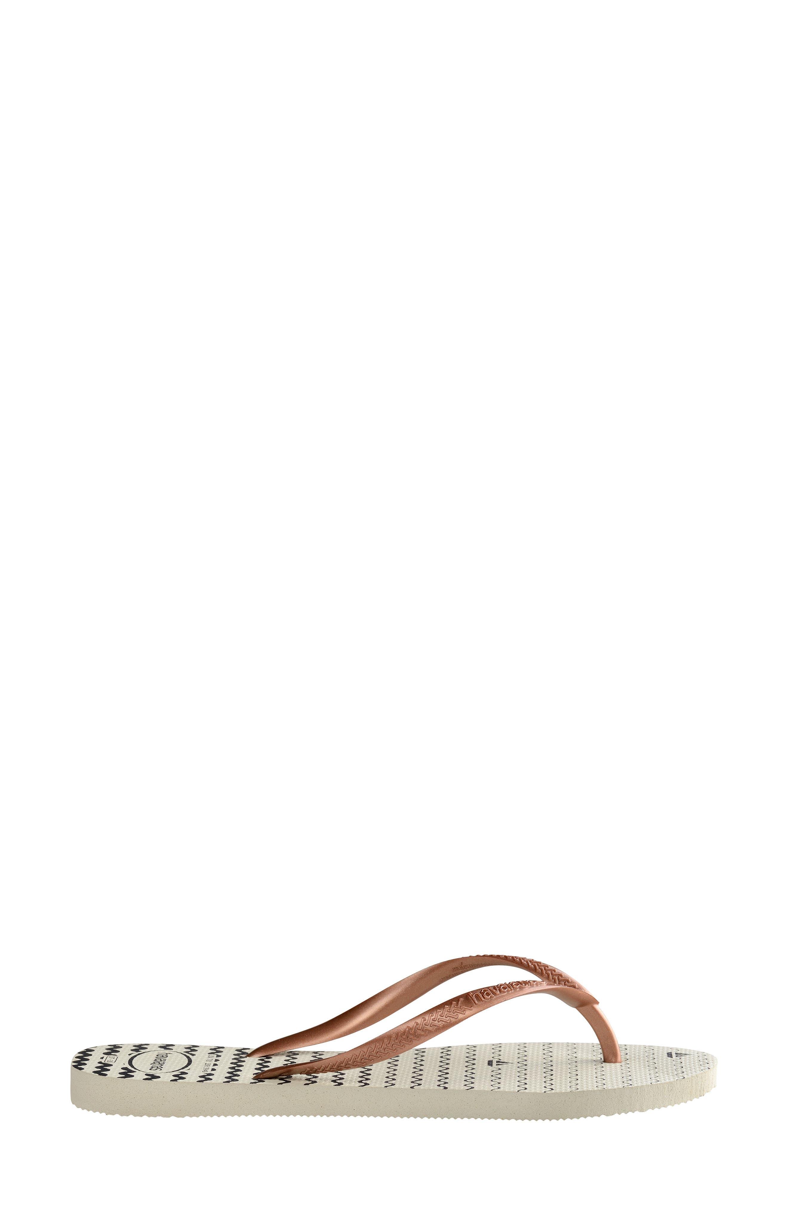 HAVAIANAS, Slim Oceano Flip Flop, Alternate thumbnail 3, color, WHITE