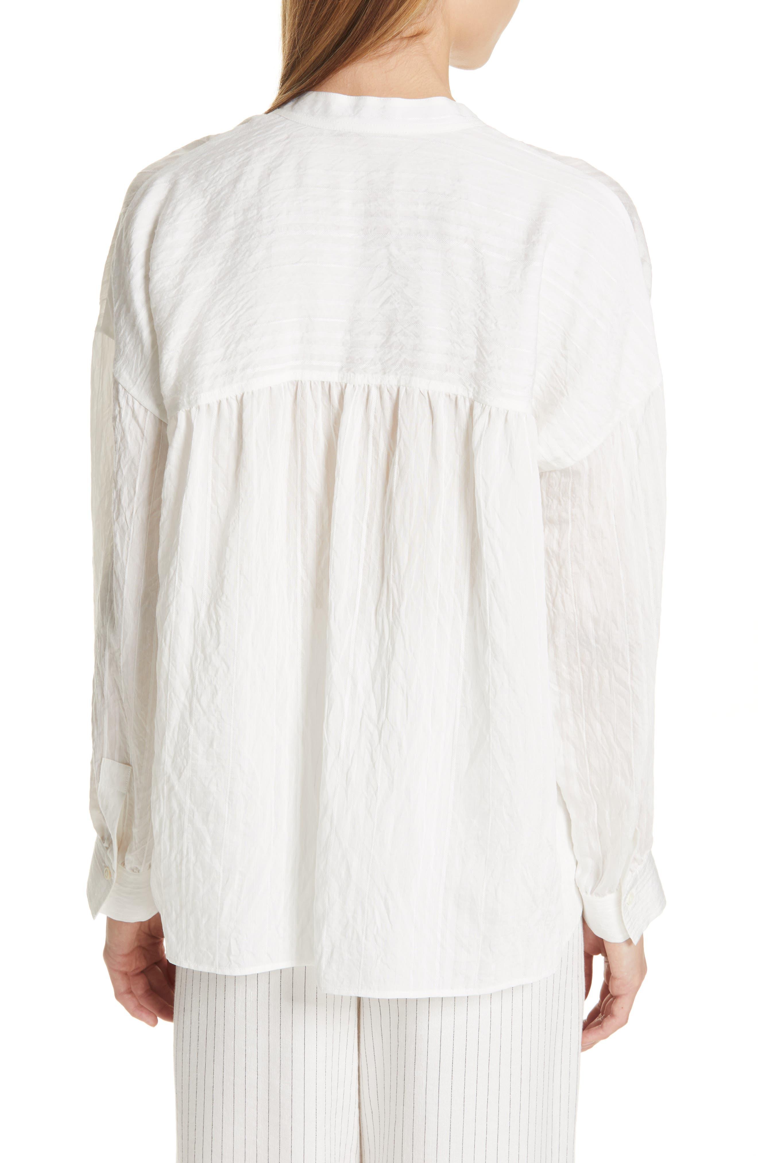 VINCE, Stripe Drop Sleeve Shirt, Alternate thumbnail 2, color, OPTIC WHITE