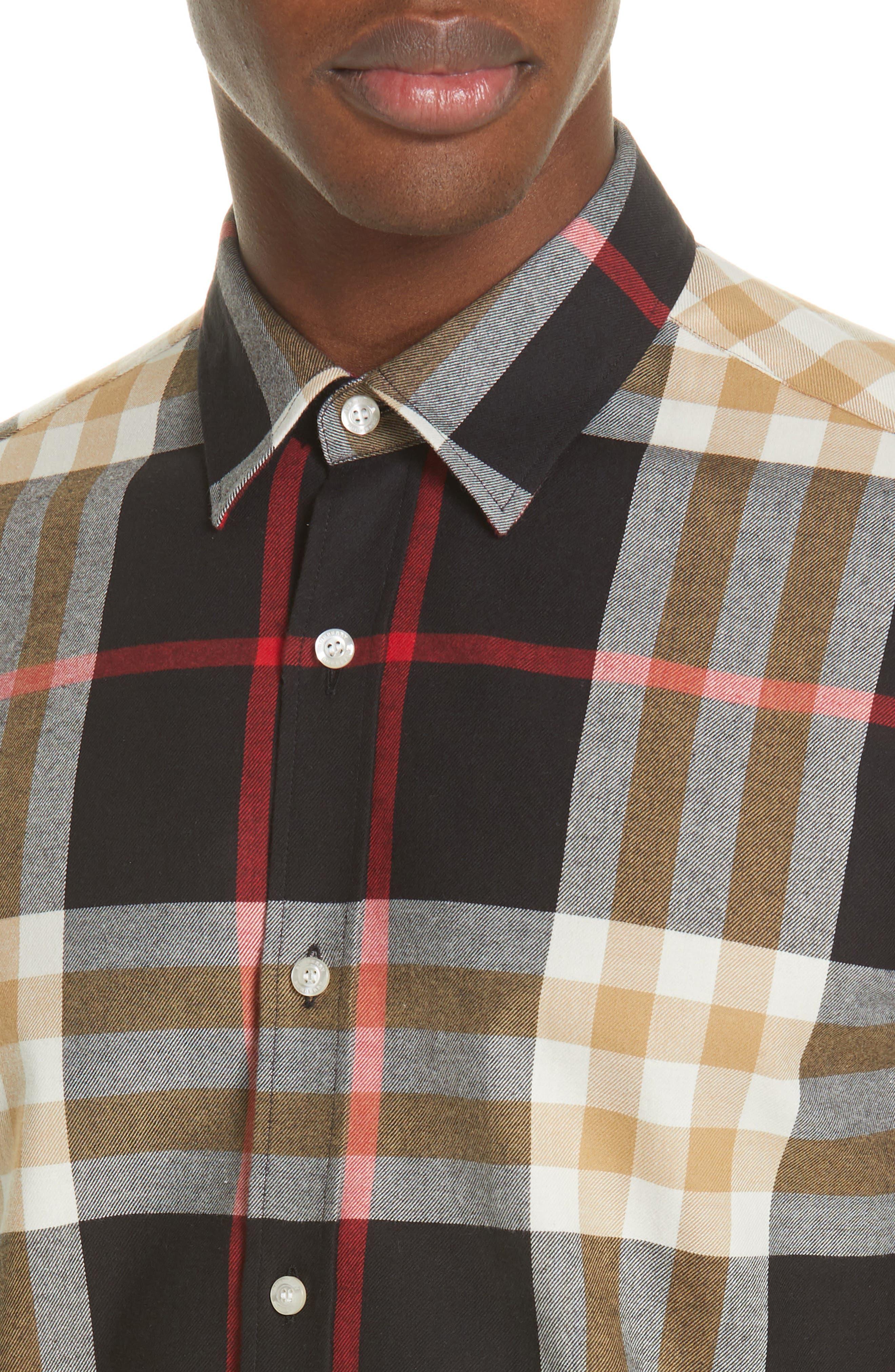 BURBERRY, Richard Slim Fit Plaid Sport Shirt, Alternate thumbnail 2, color, BLACK CHECK