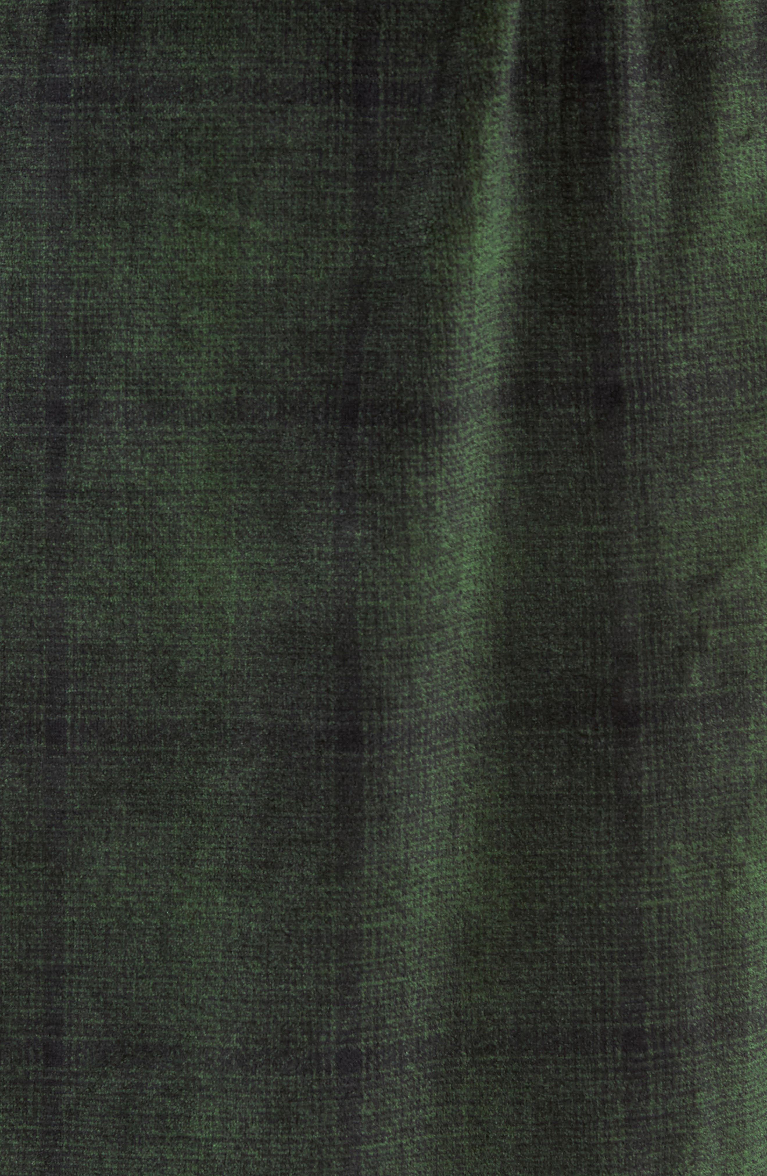 NORDSTROM MEN'S SHOP, Ombré Plaid Fleece Robe, Alternate thumbnail 5, color, GREEN - BLACK OMBRE PLAID