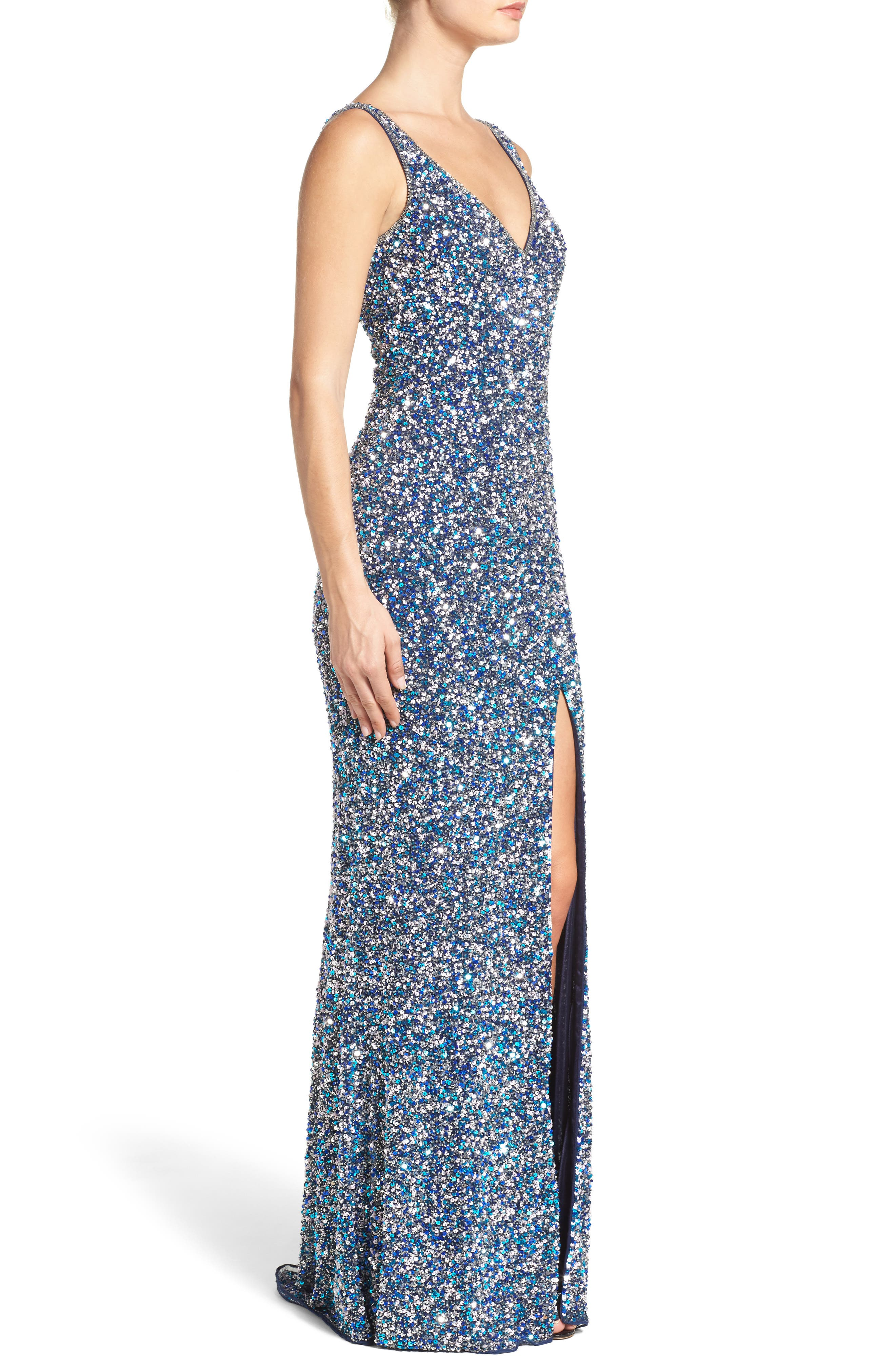 MAC DUGGAL, Sequin Slit Gown, Alternate thumbnail 3, color, NAVY MULTI