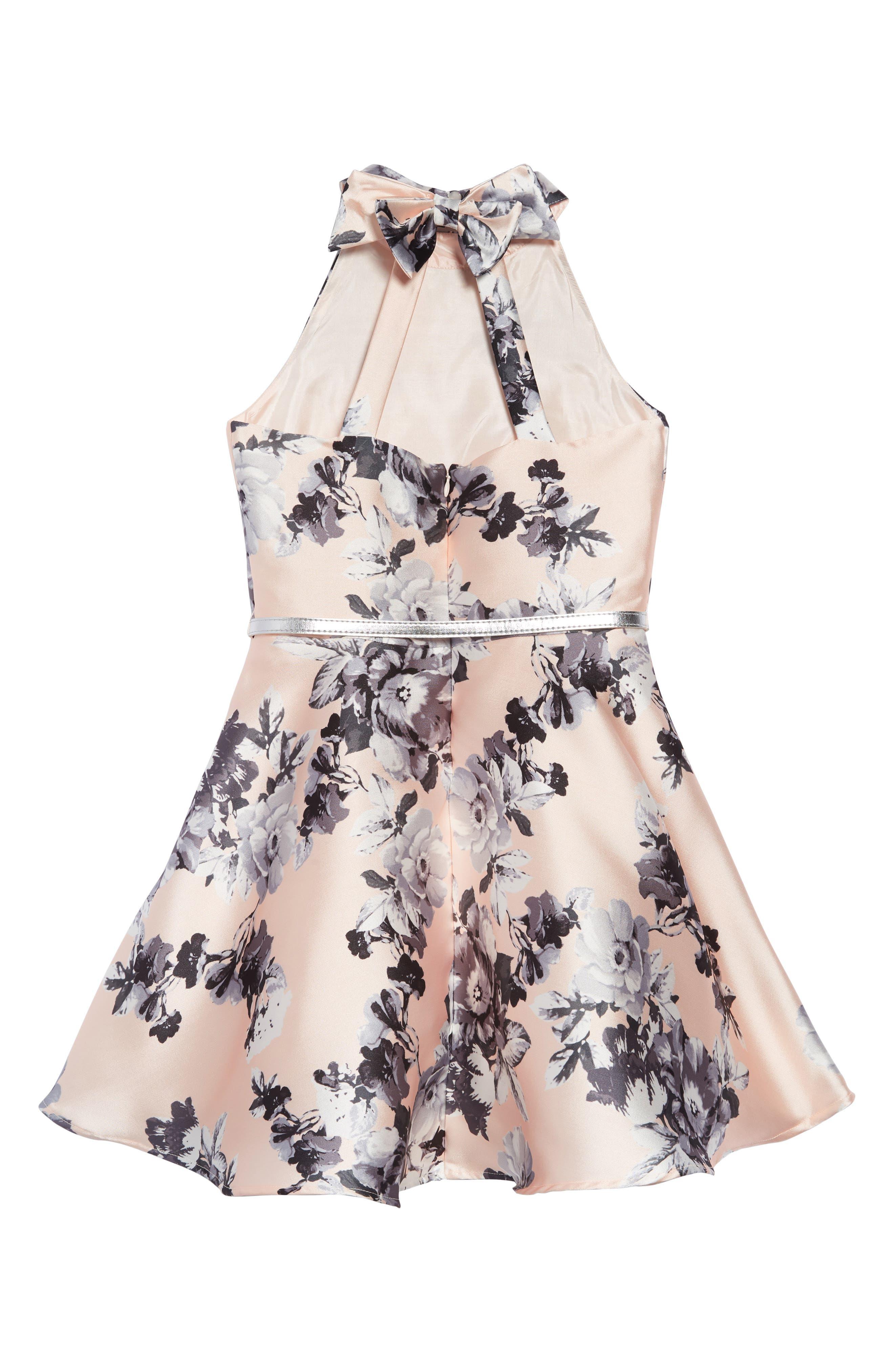 ZUNIE, Floral Fit & Flare Dress, Alternate thumbnail 2, color, PALE PINK