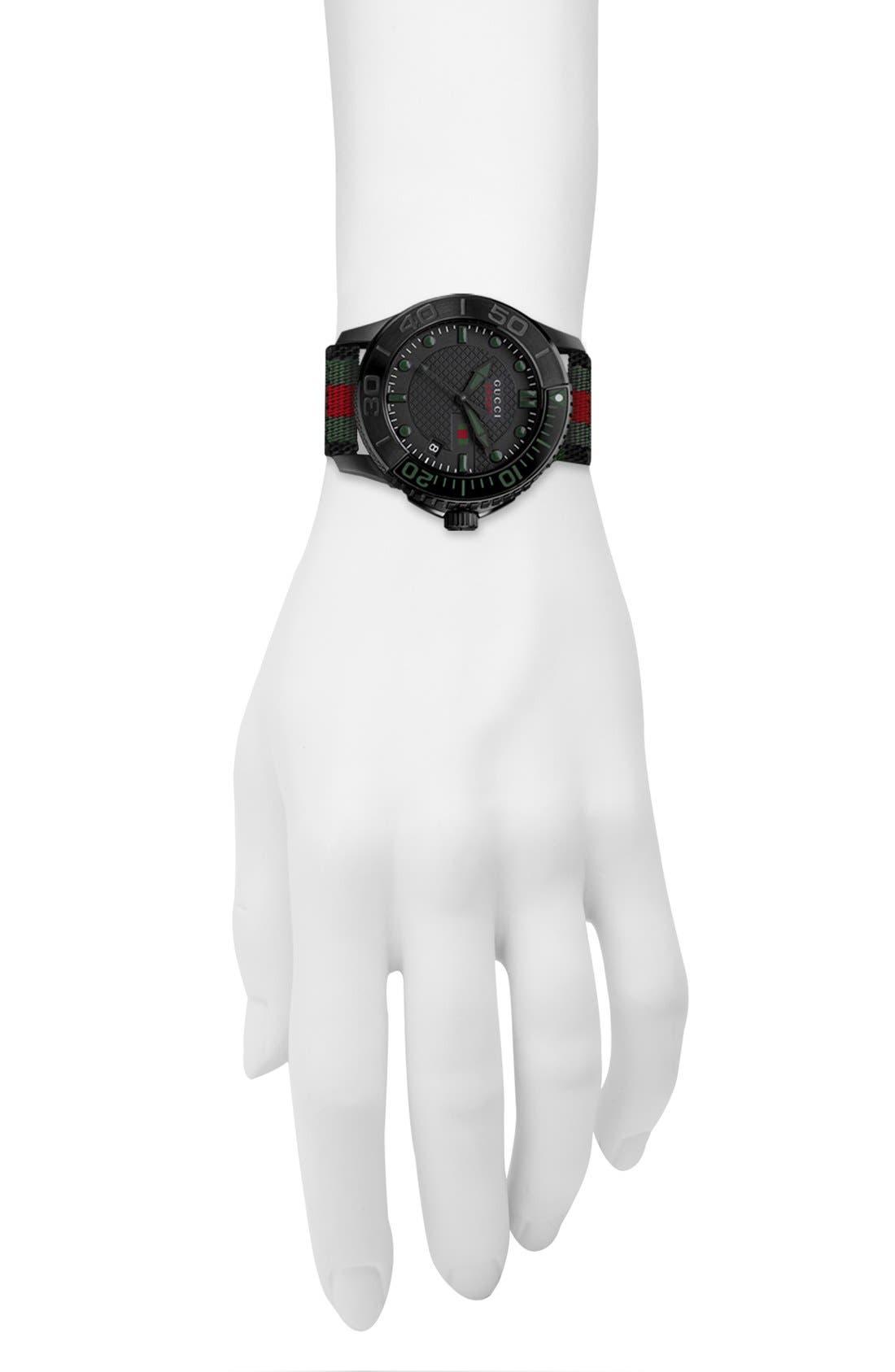 GUCCI, 'G Timeless' Nylon Strap Watch, 44mm, Alternate thumbnail 3, color, 001