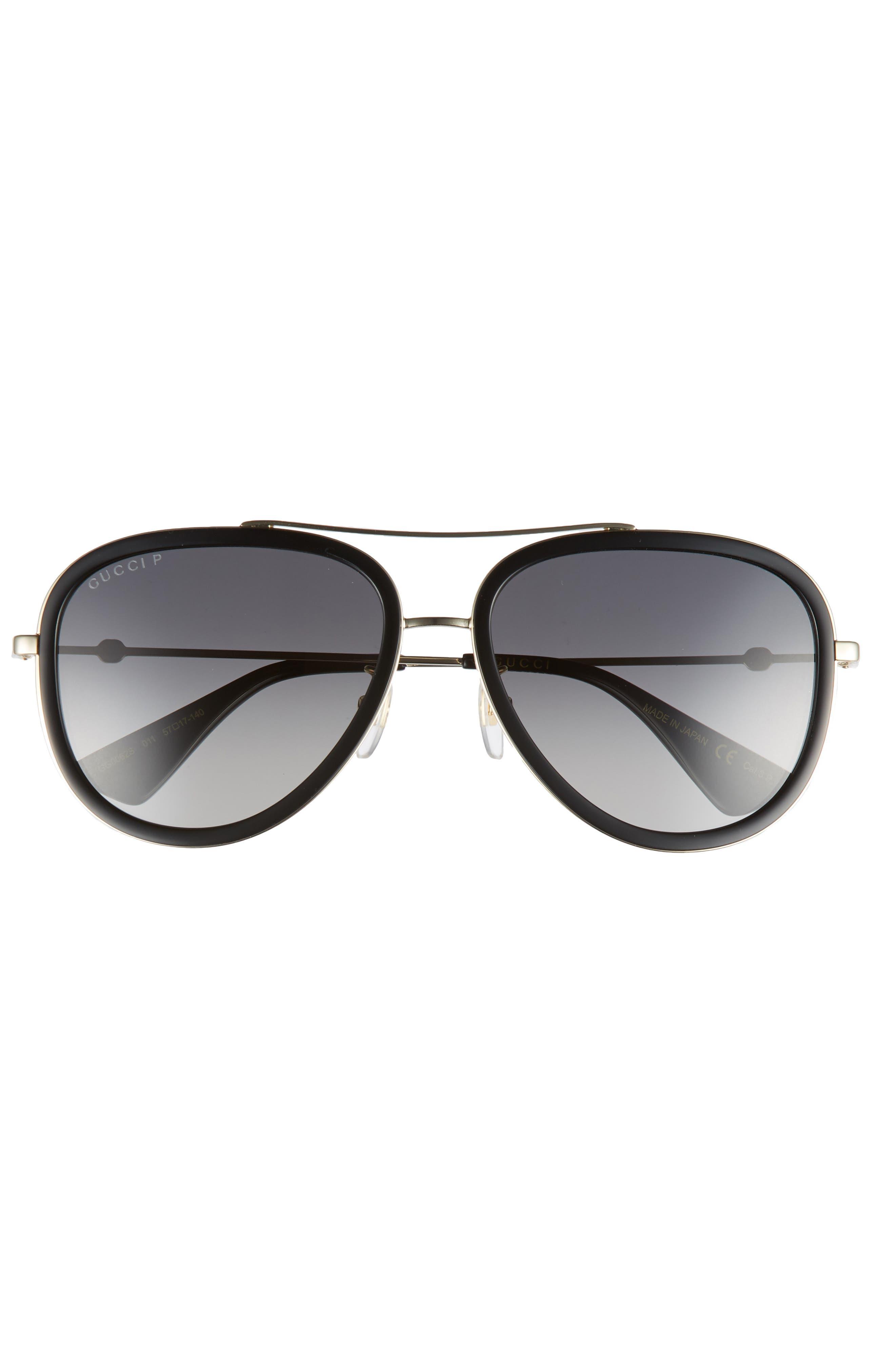 GUCCI, Web Block Pilot 57mm Polarized Aviator Sunglasses, Alternate thumbnail 2, color, GOLD/ BLACK