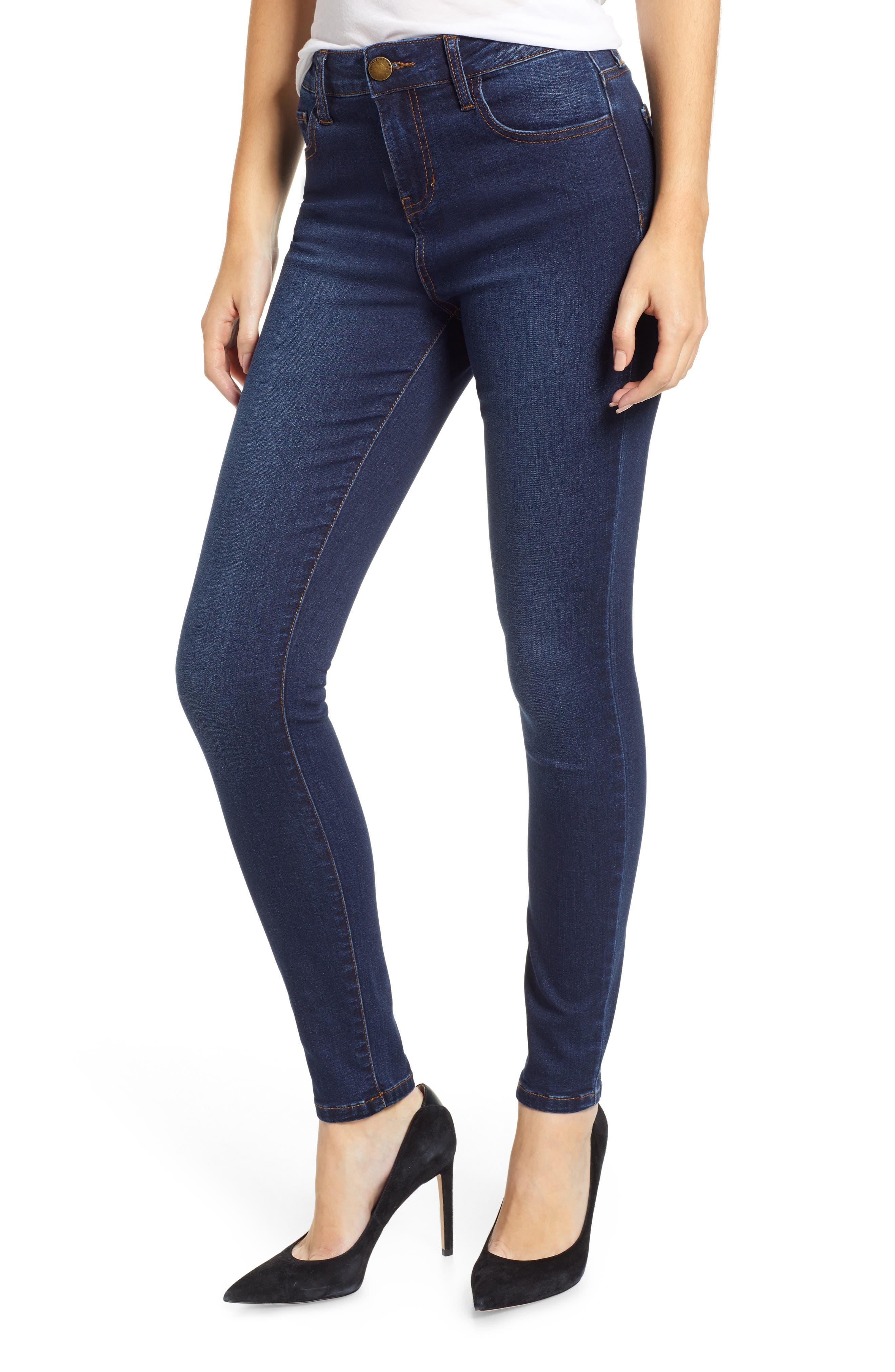 PROSPERITY DENIM High Waist Skinny Jeans, Main, color, DARK