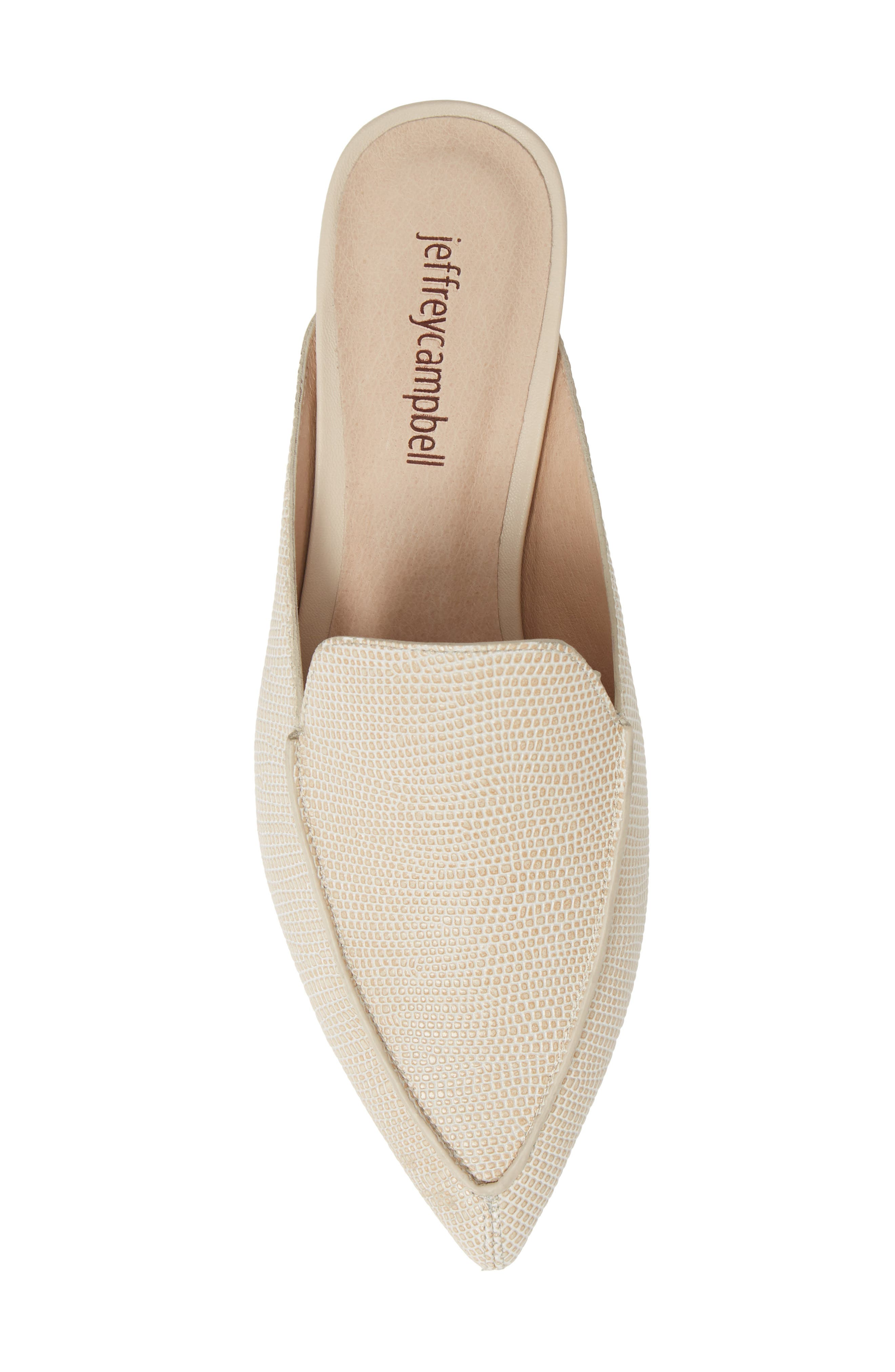 JEFFREY CAMPBELL, Vionit Lizard Embossed Loafer Mule, Alternate thumbnail 5, color, BEIGE LIZARD PRINT