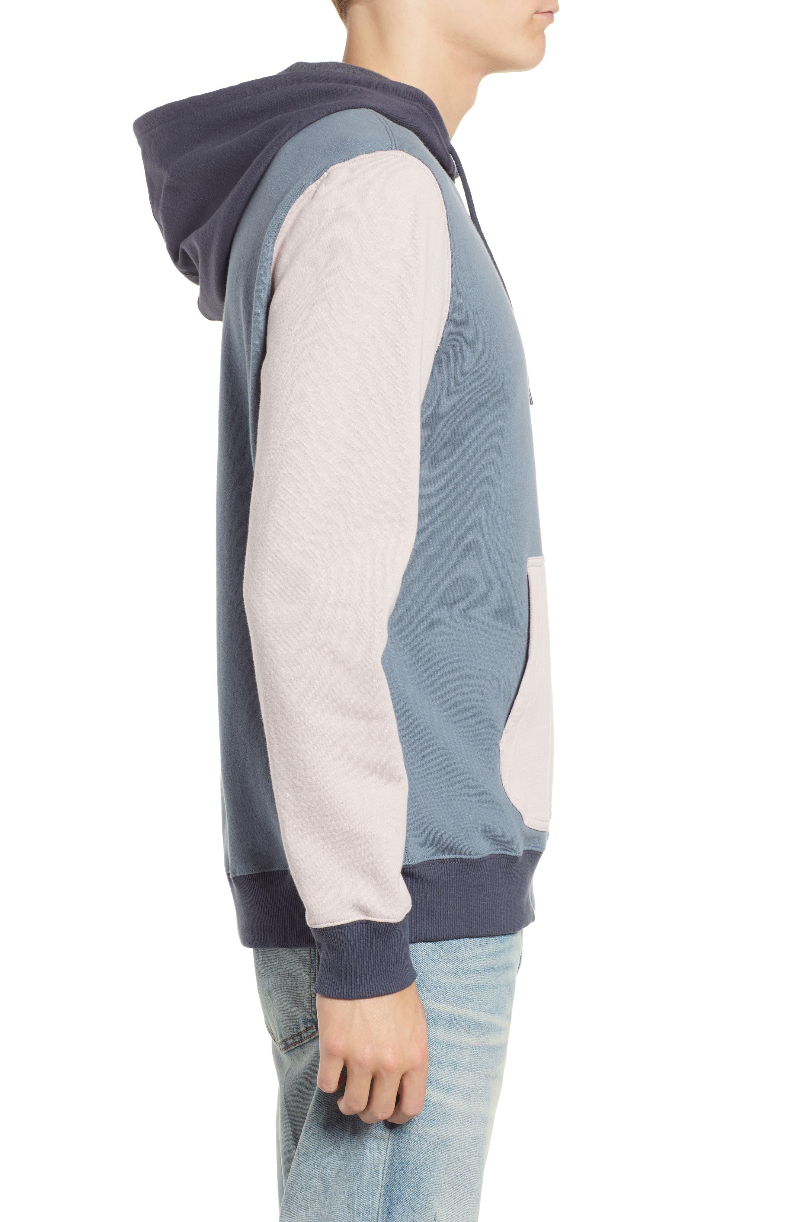 RVCA, Ruddy Hoodie Sweatshirt, Alternate thumbnail 3, color, BLUE SLATE