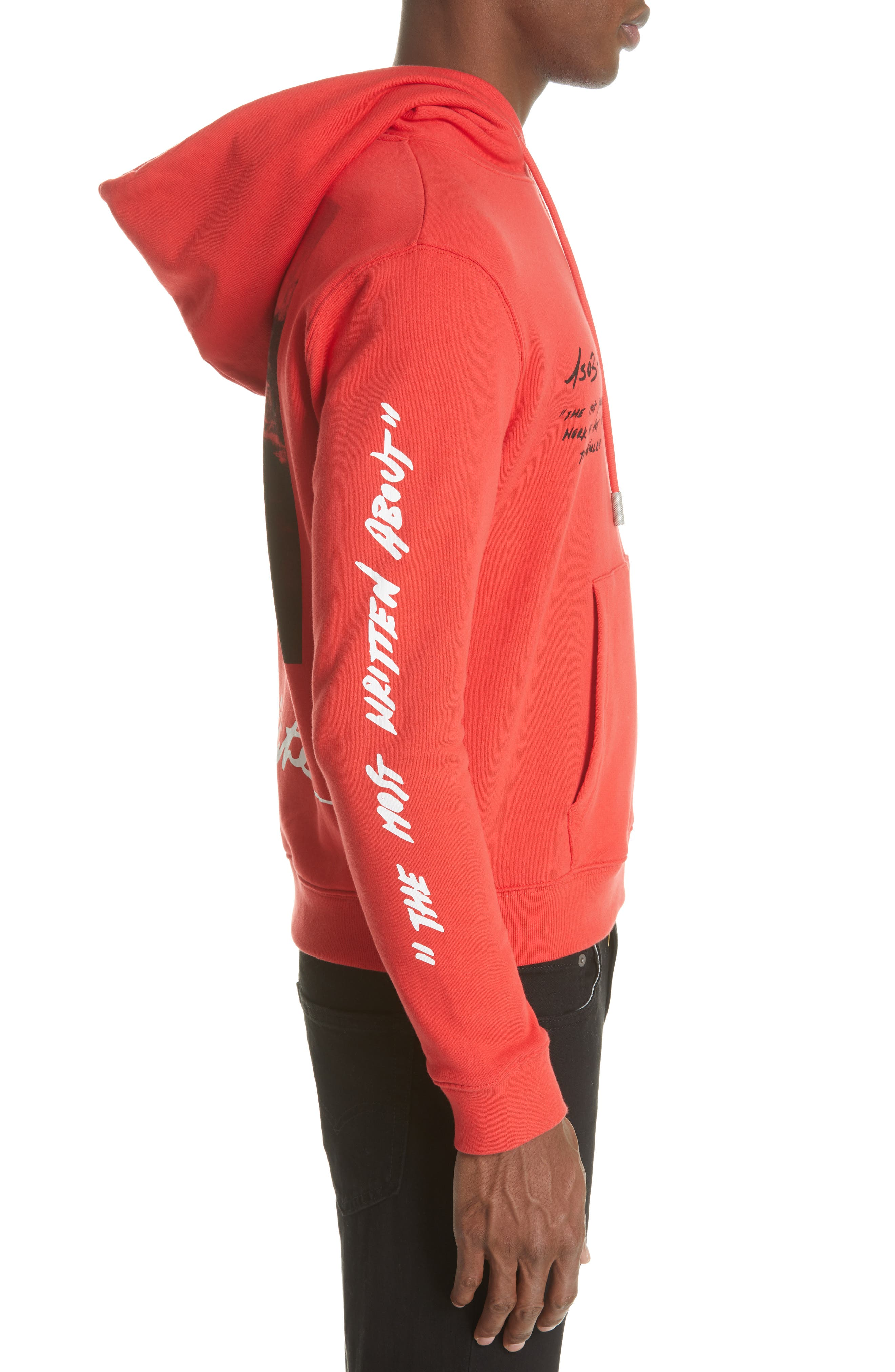 OFF-WHITE, Monnalisa Slim Fit Graphic Hoodie, Alternate thumbnail 3, color, RED