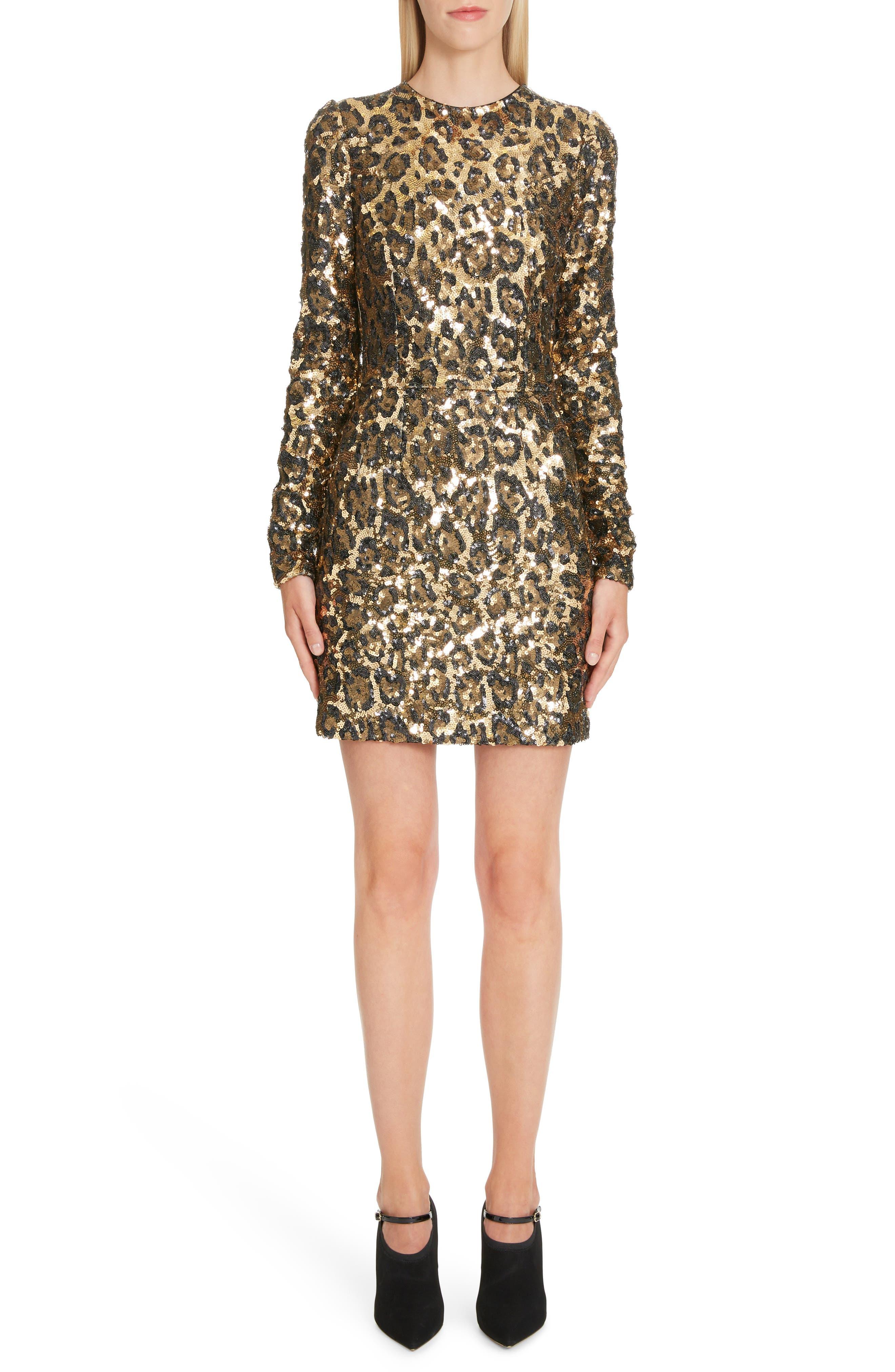 Dolce & gabbana Sequin Leopard Print Sheath Dress, US / 40 IT - Black