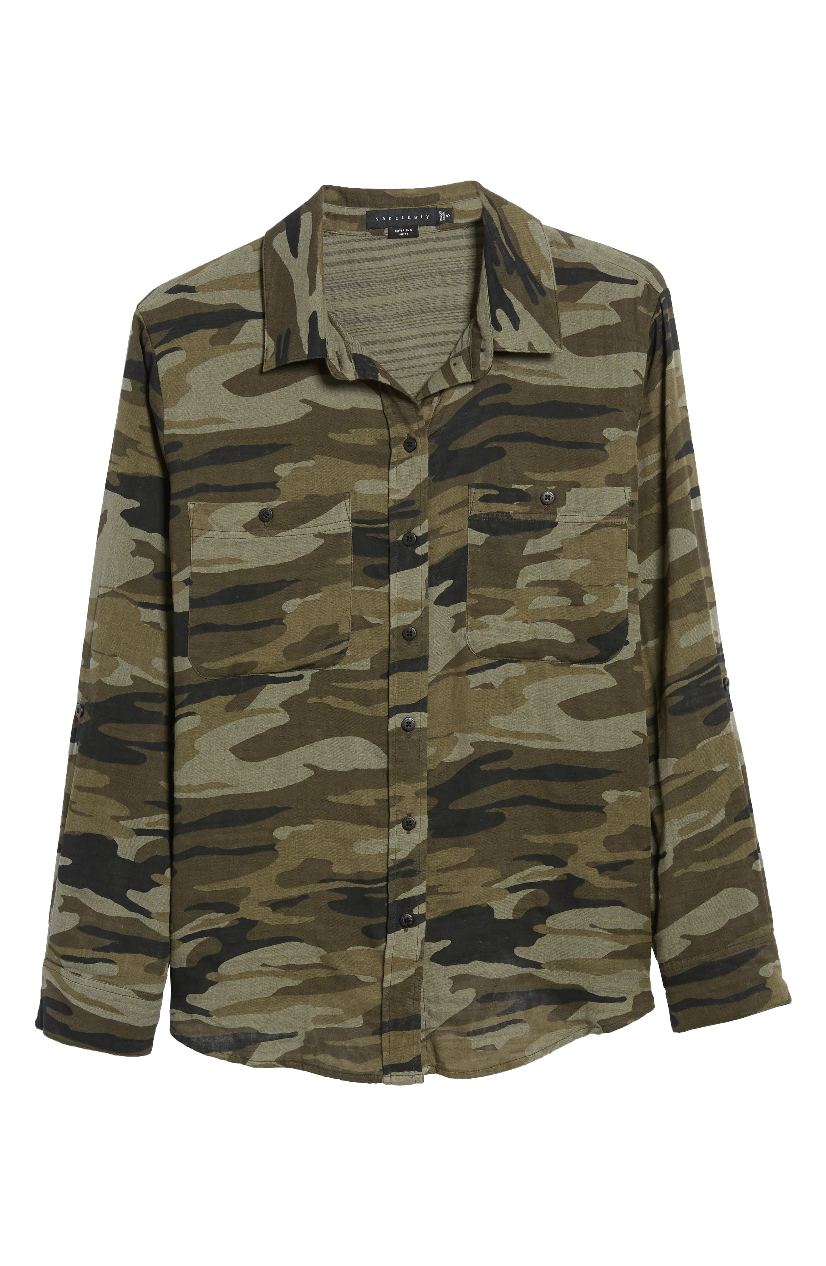 SANCTUARY, Steady Boyfriend Camo Shirt, Alternate thumbnail 7, color, GARDEN CAMO