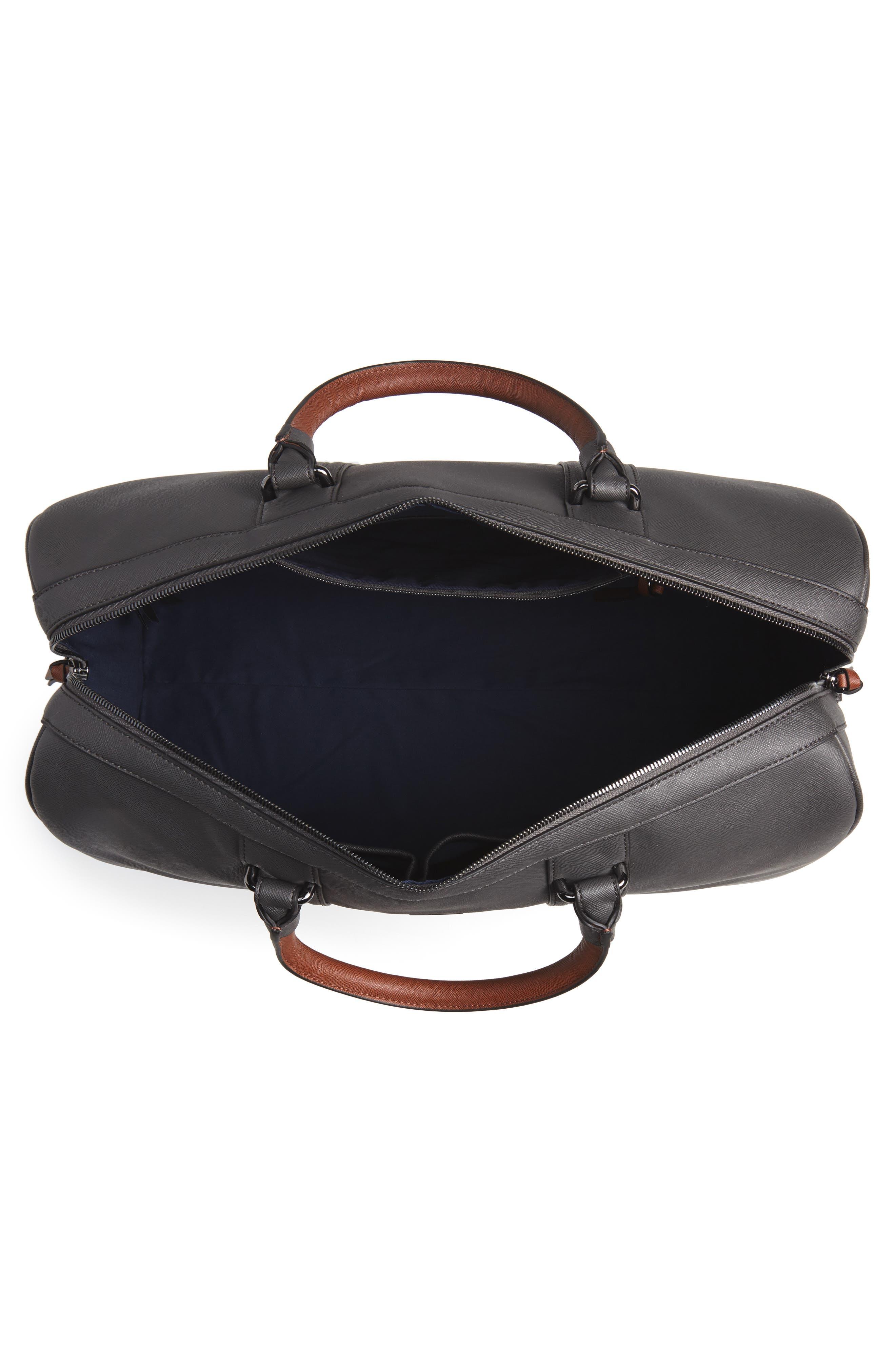 TED BAKER LONDON, Grankan Faux Leather Duffel Bag, Alternate thumbnail 4, color, 020