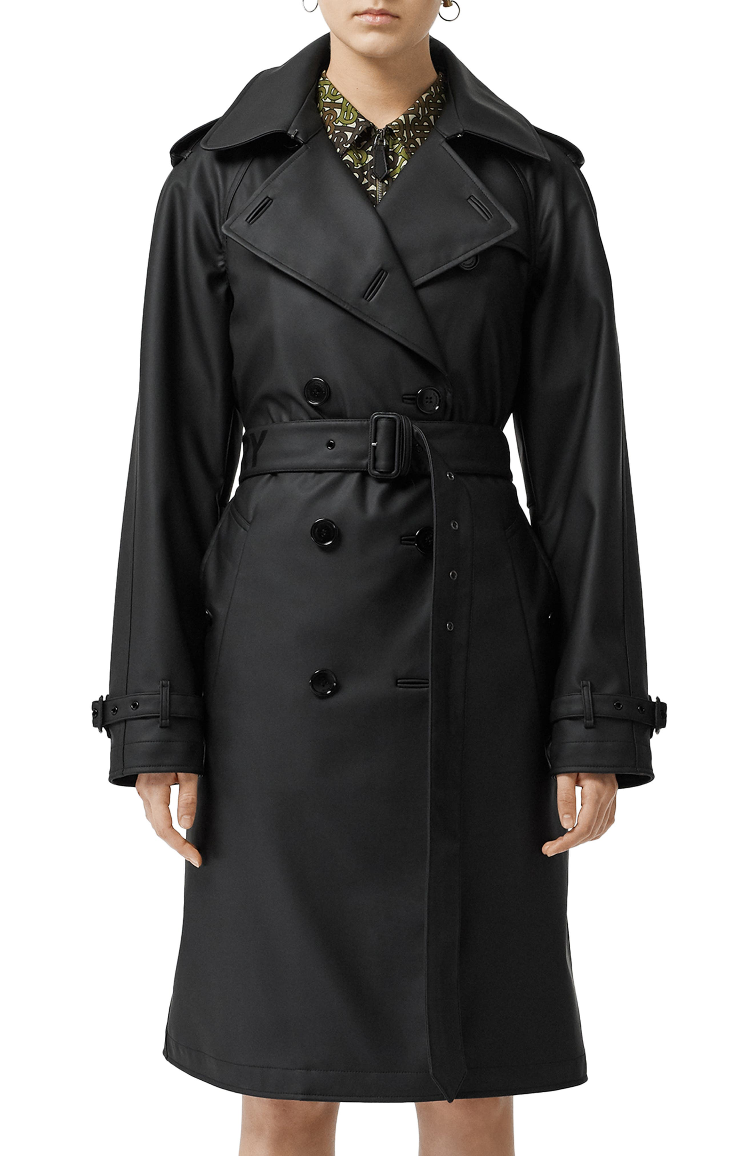BURBERRY Curradine Waterproof Rubberized Trench Coat, Main, color, BLACK / WHITE