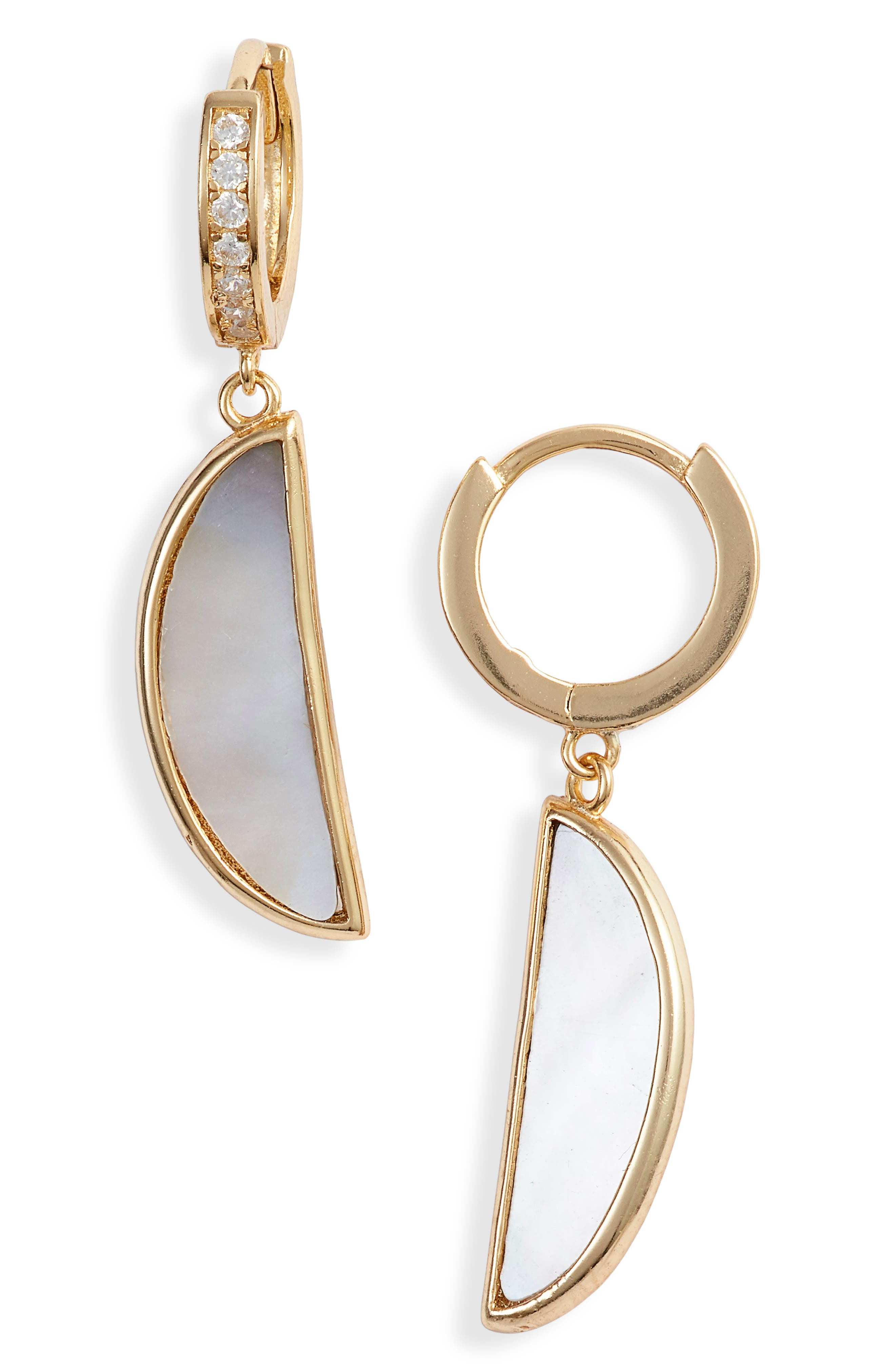 ARGENTO VIVO, Mother of Pearl Drop Earrings, Main thumbnail 1, color, GREY MOTHER OF PEARL/ GOLD