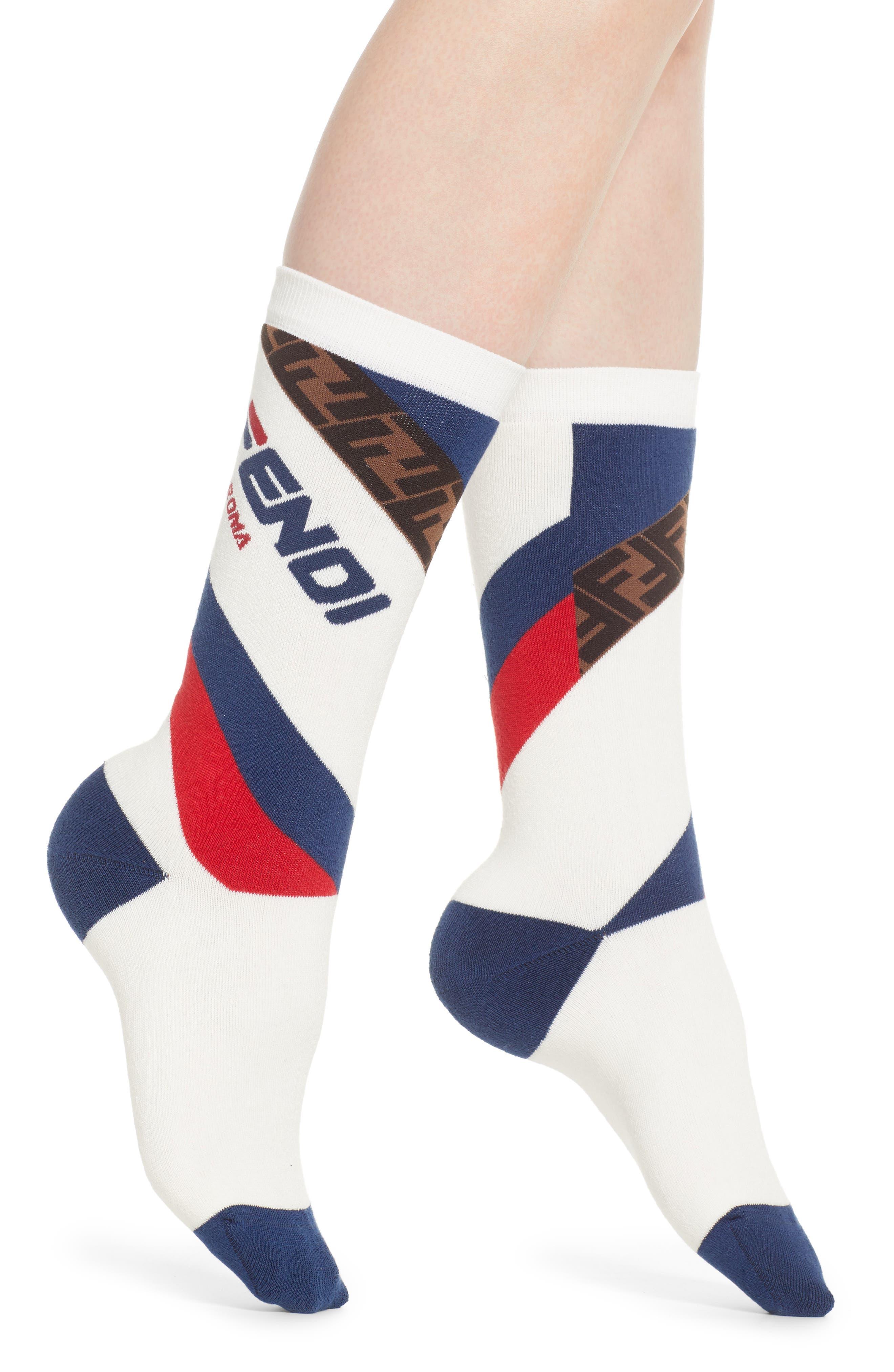 FENDI, x FILA Mania Logo Socks, Main thumbnail 1, color, WHITE MULTI