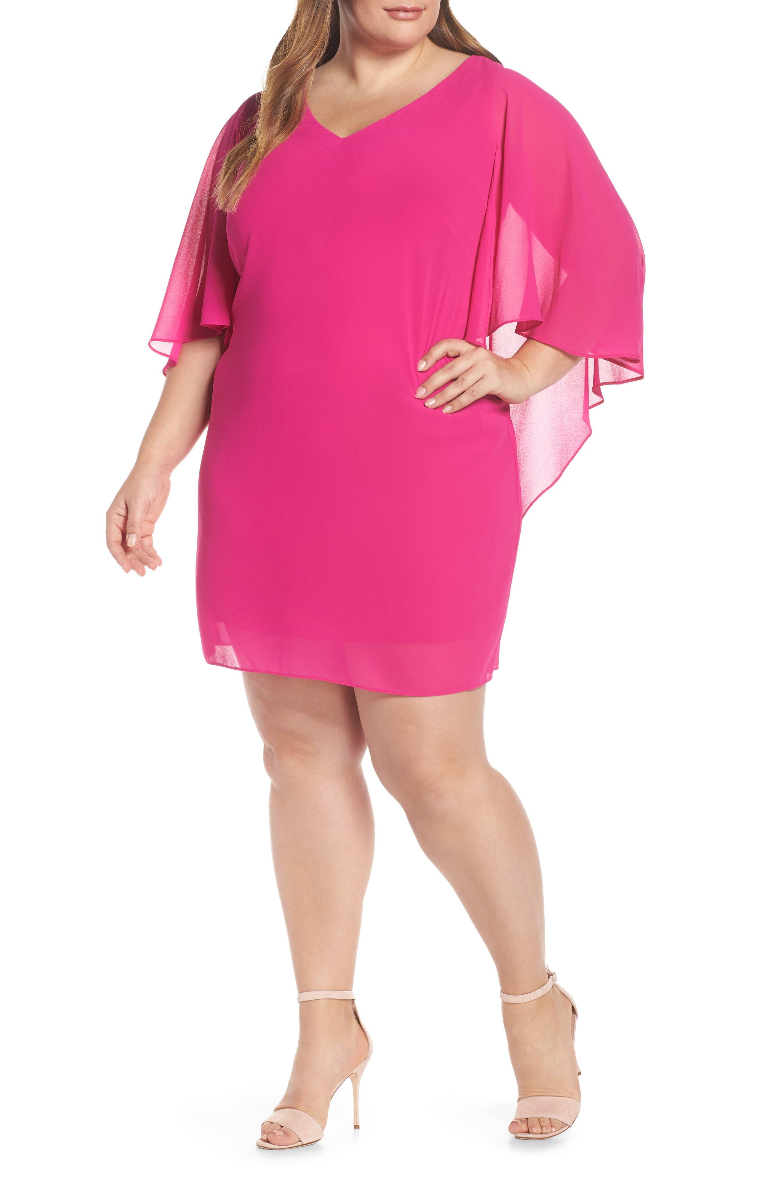 VINCE CAMUTO, Cape Back Shift Dress, Main thumbnail 1, color, FUCHSIA