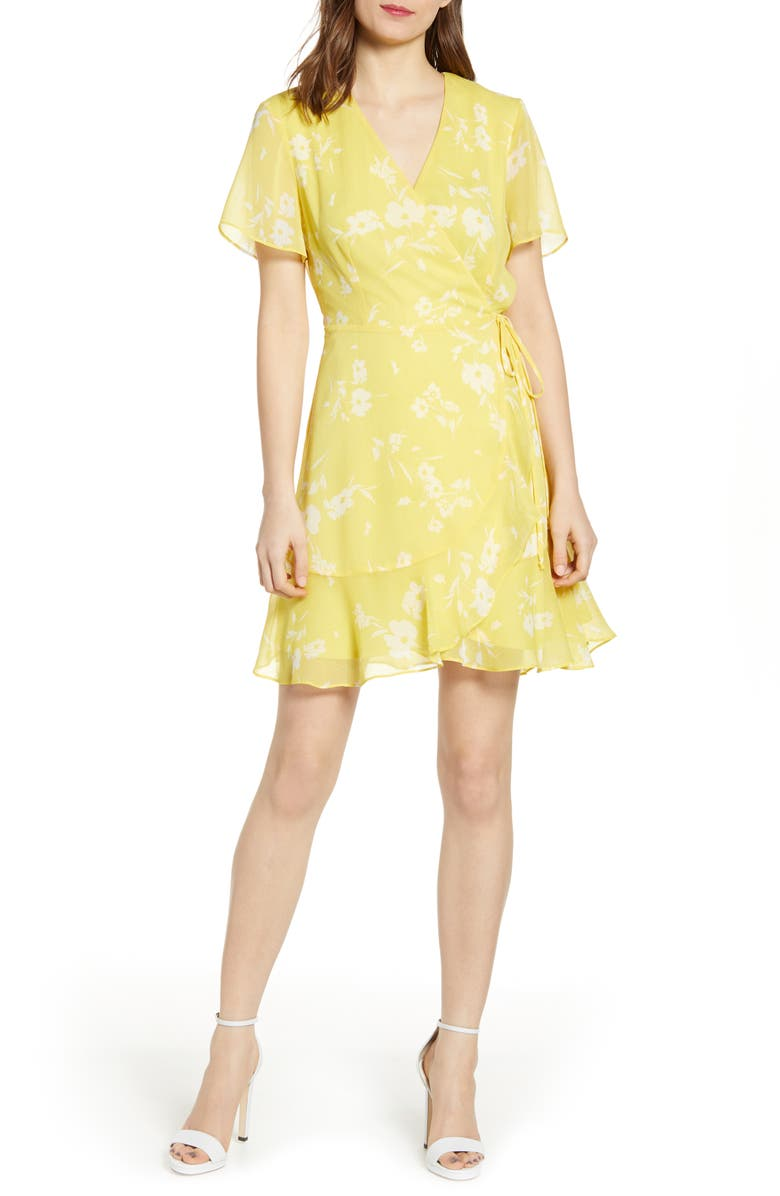 ALL IN FAVOR Isabella Wrap Dress, Main, color, YELLOW FLORAL
