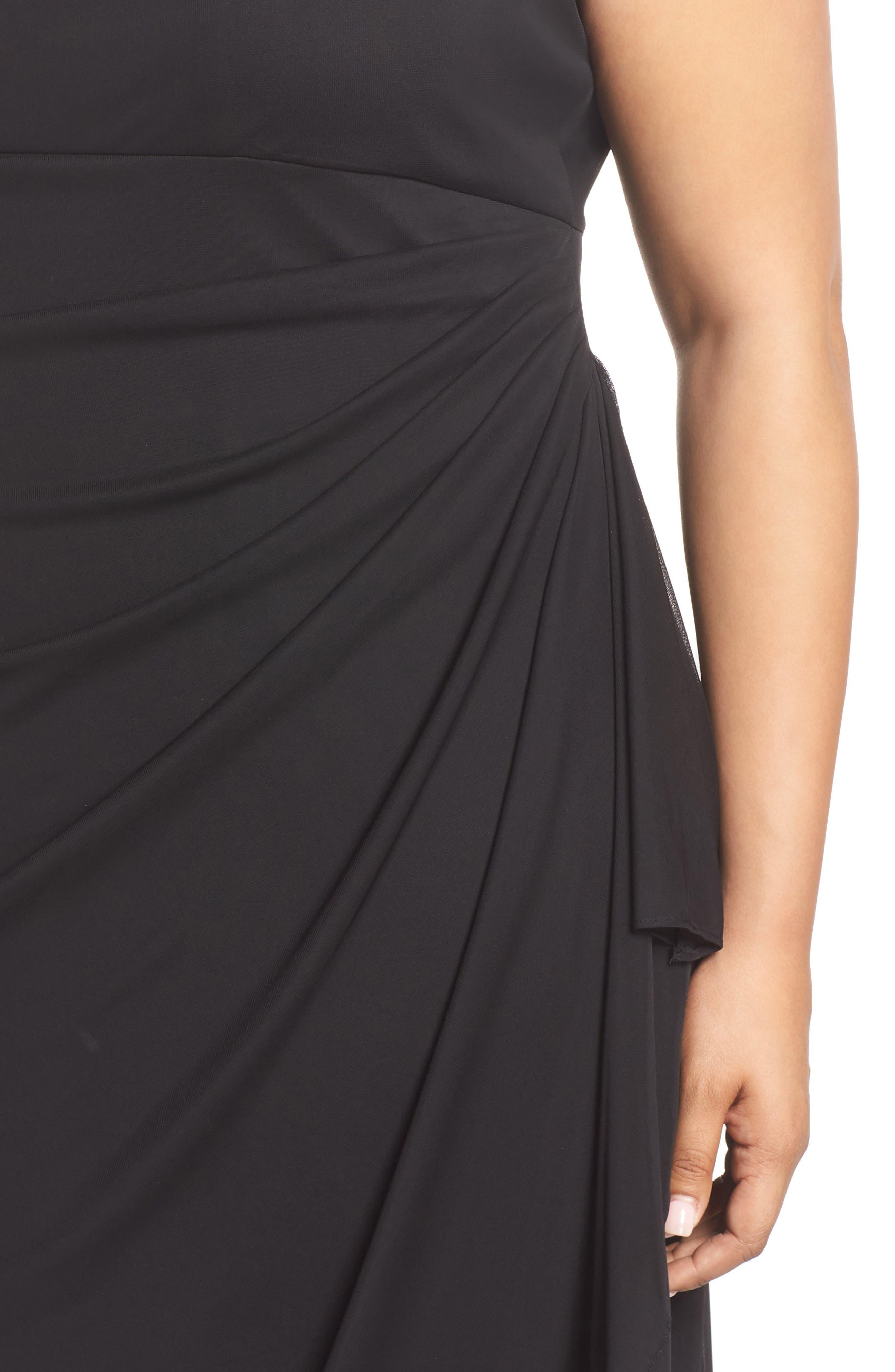 ALEX EVENINGS, Cold Shoulder Mesh Gown, Alternate thumbnail 4, color, BLACK