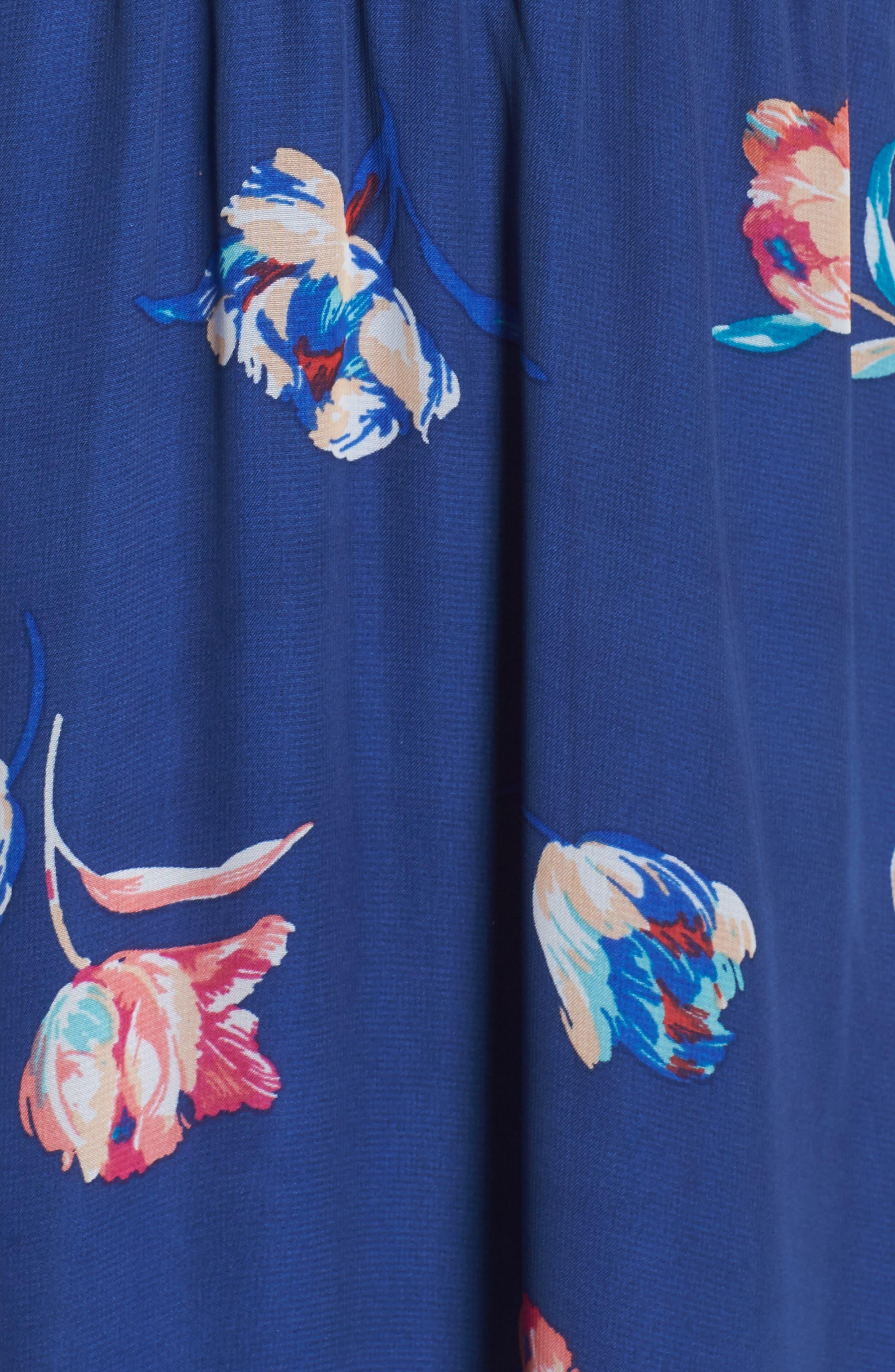 FRAICHE BY J, Cold Shoulder Maxi Dress, Alternate thumbnail 6, color, CASSY BLUE