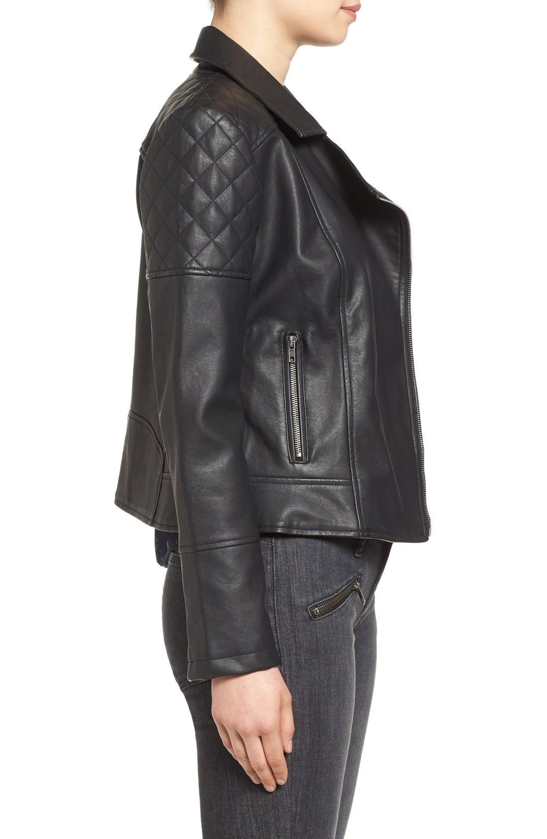 CUPCAKES AND CASHMERE, 'Breck' Faux Leather Moto Jacket, Alternate thumbnail 5, color, 001