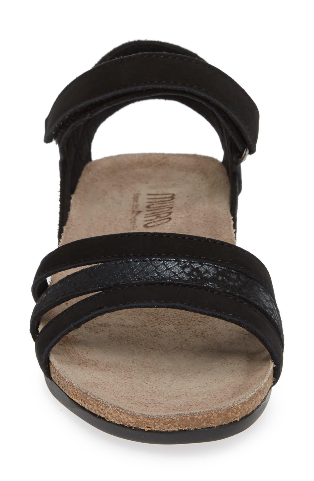 MUNRO, Summer Sandal, Alternate thumbnail 4, color, BLACK COMBO NUBUCK