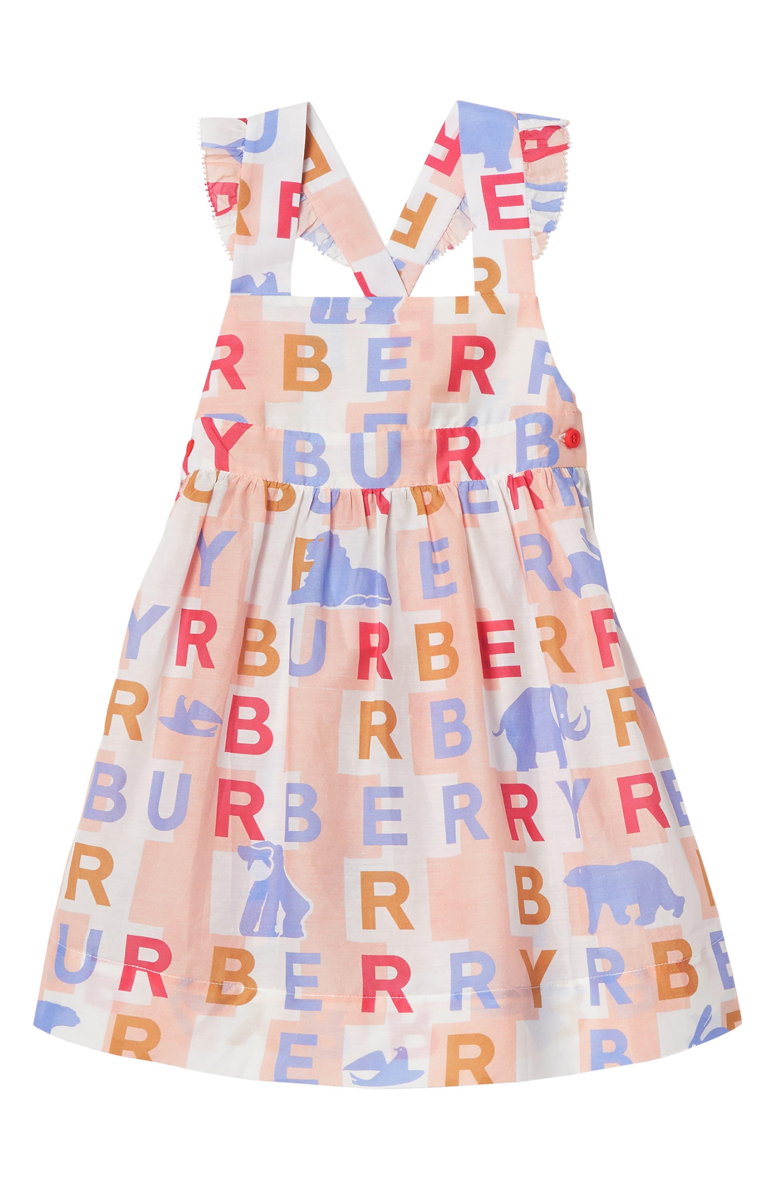 BURBERRY, Burbery Mini Livia Cotton & Silk Pinafore Dress, Main thumbnail 1, color, PALE ROSE