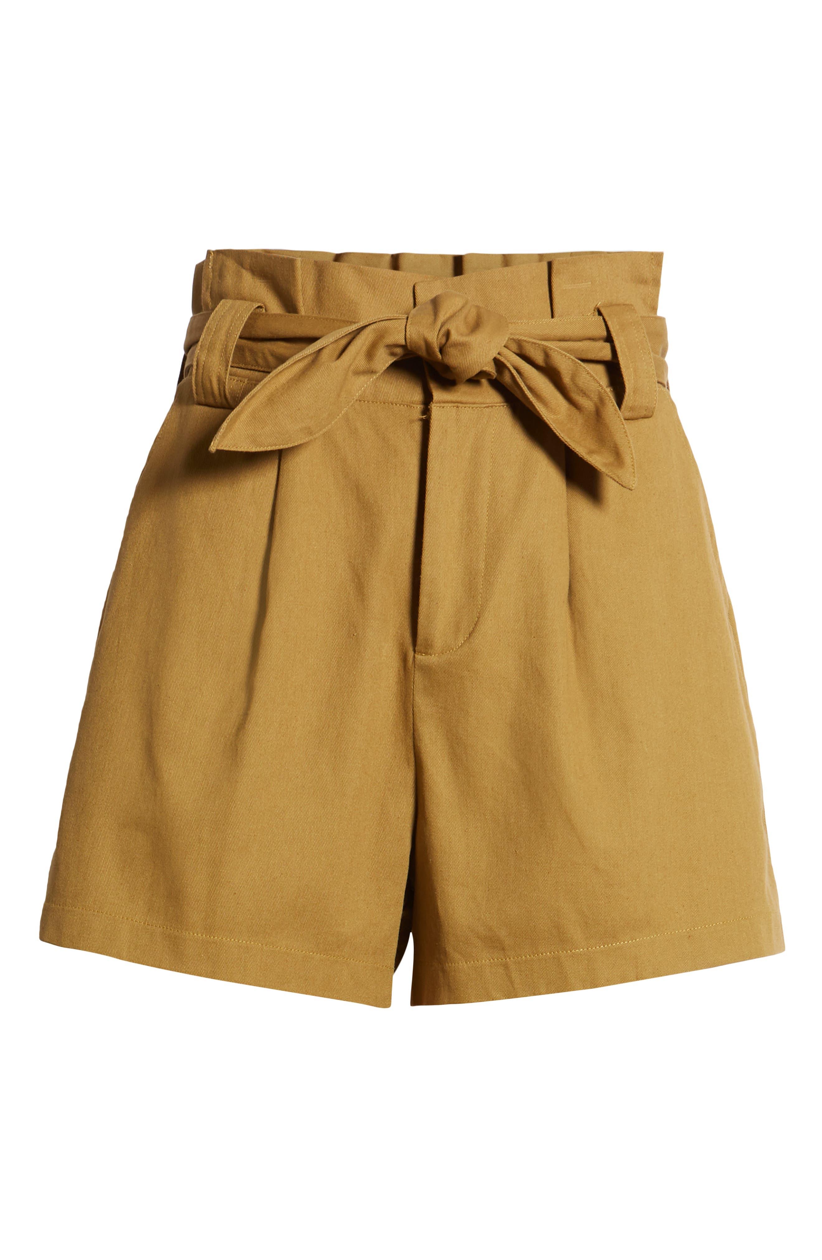 ALL IN FAVOR, Paperbag Waist Shorts, Alternate thumbnail 7, color, CAMEL