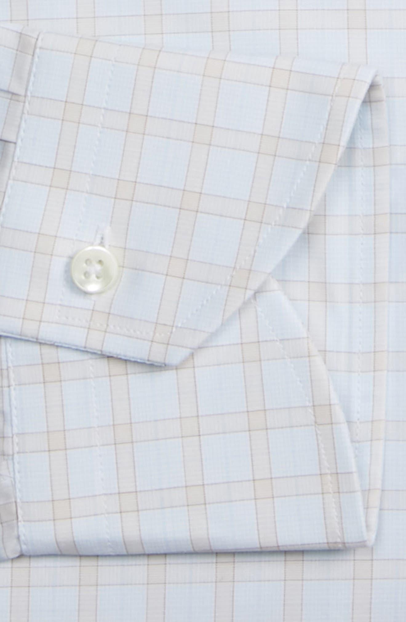 CANALI, Regular Fit Plaid Dress Shirt, Alternate thumbnail 6, color, BEIGE