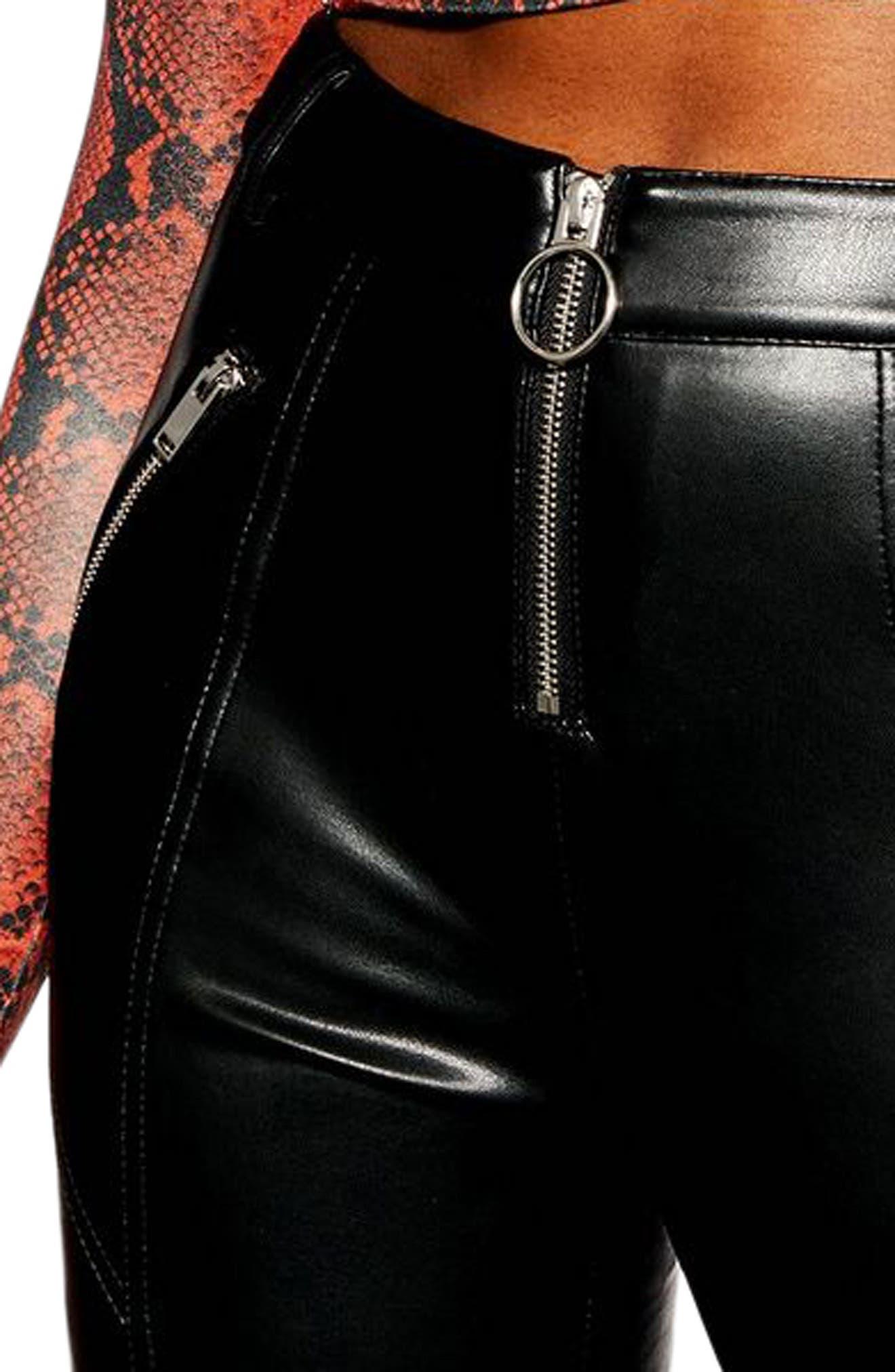 TOPSHOP, Faux Leather Skinny Biker Pants, Alternate thumbnail 4, color, BLACK