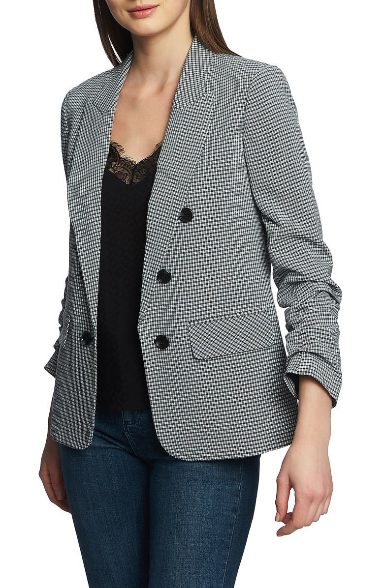 1.state Blazers RUCHED SLEEVE DOUBLE BREASTED GINGHAM BLAZER