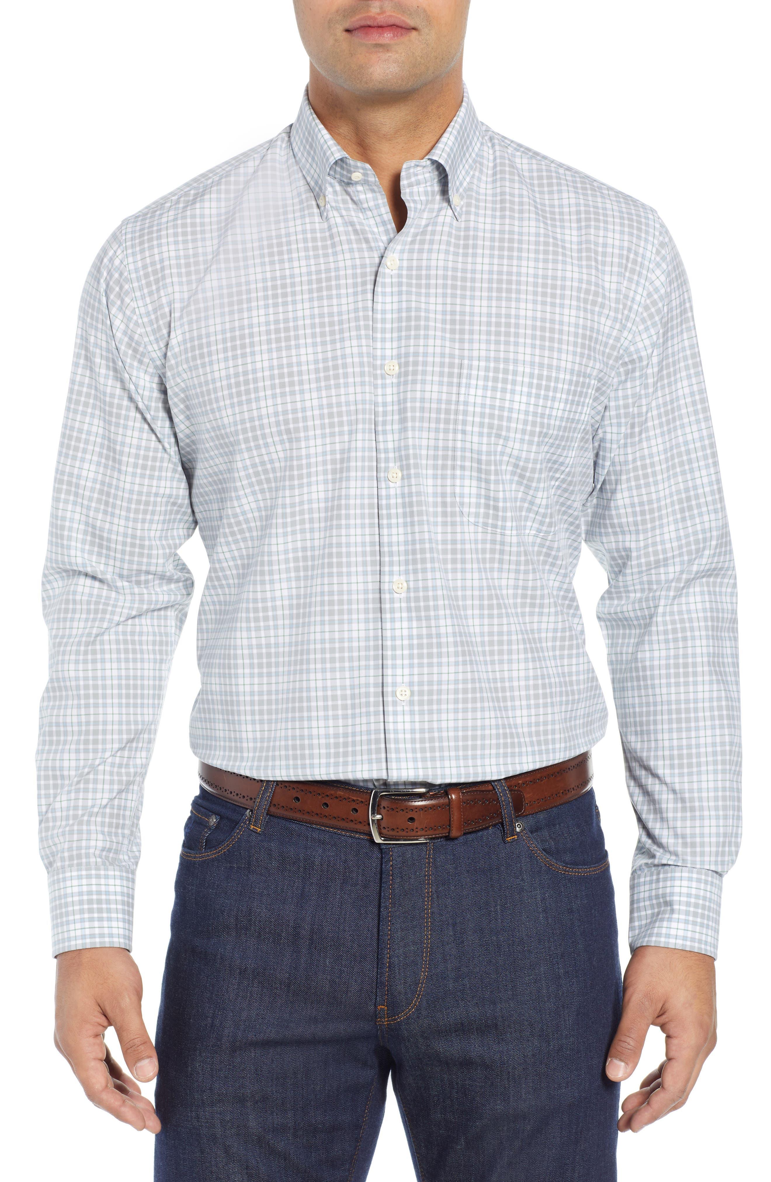 PETER MILLAR Belltown Tartan Sport Shirt, Main, color, GALE GREY
