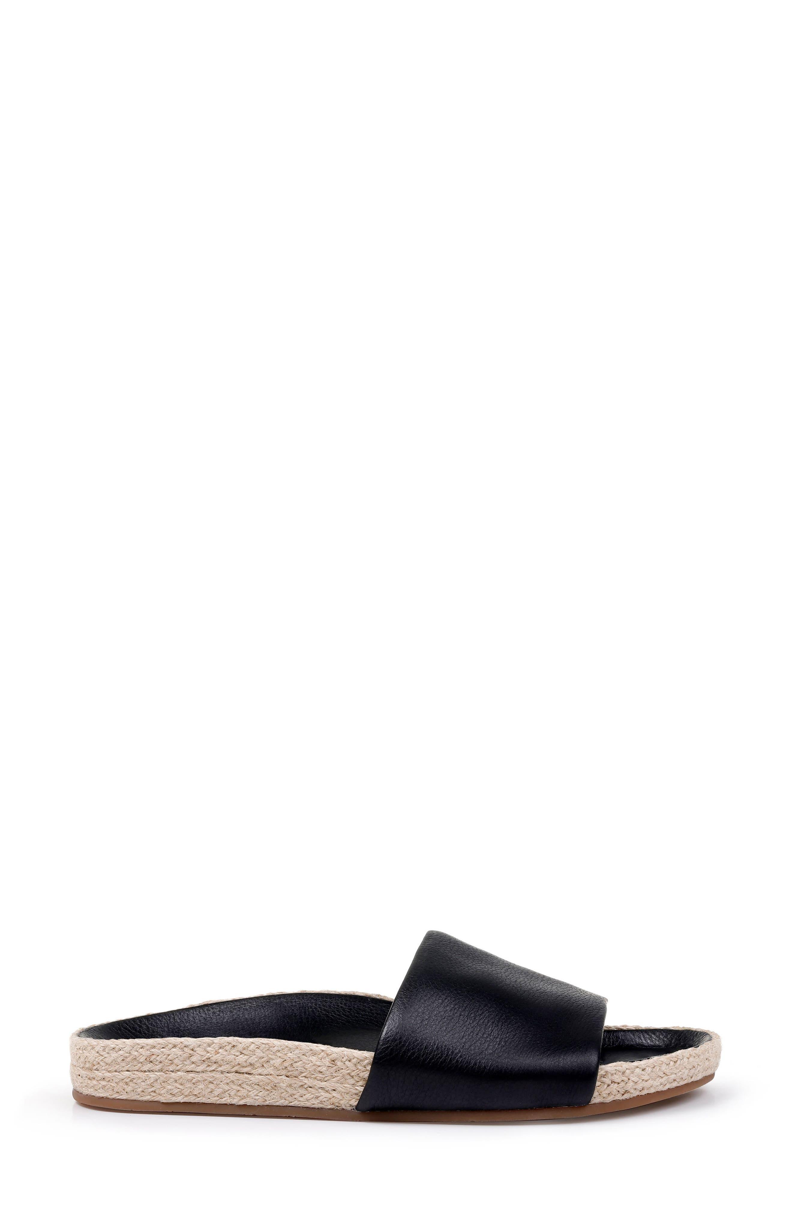 SPLENDID, Sandford Espadrille Slide Sandal, Alternate thumbnail 3, color, BLACK LEATHER