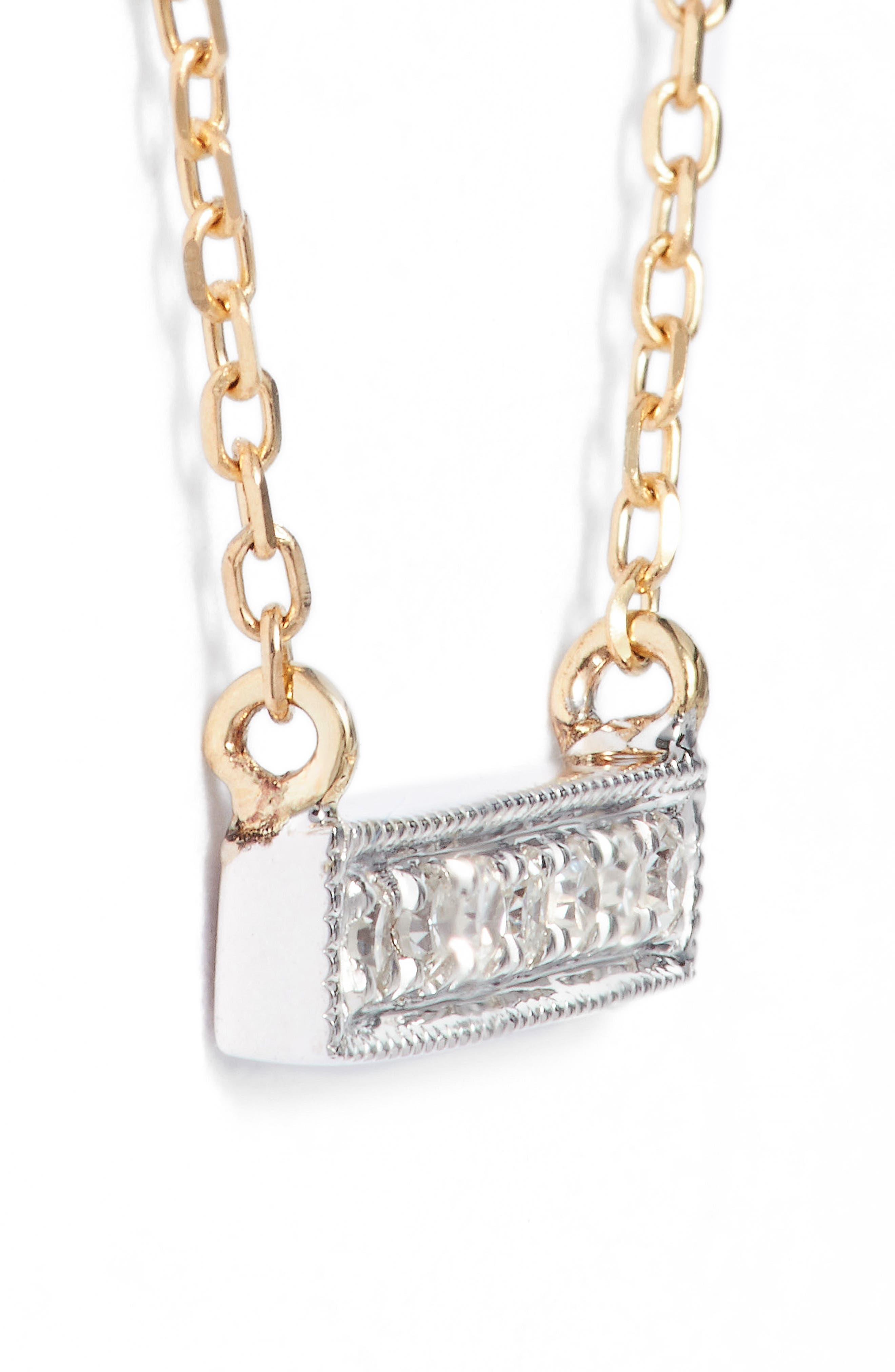 DANA REBECCA DESIGNS, 'Sylvie Rose' Diamond Bar Pendant Necklace, Alternate thumbnail 5, color, YELLOW GOLD