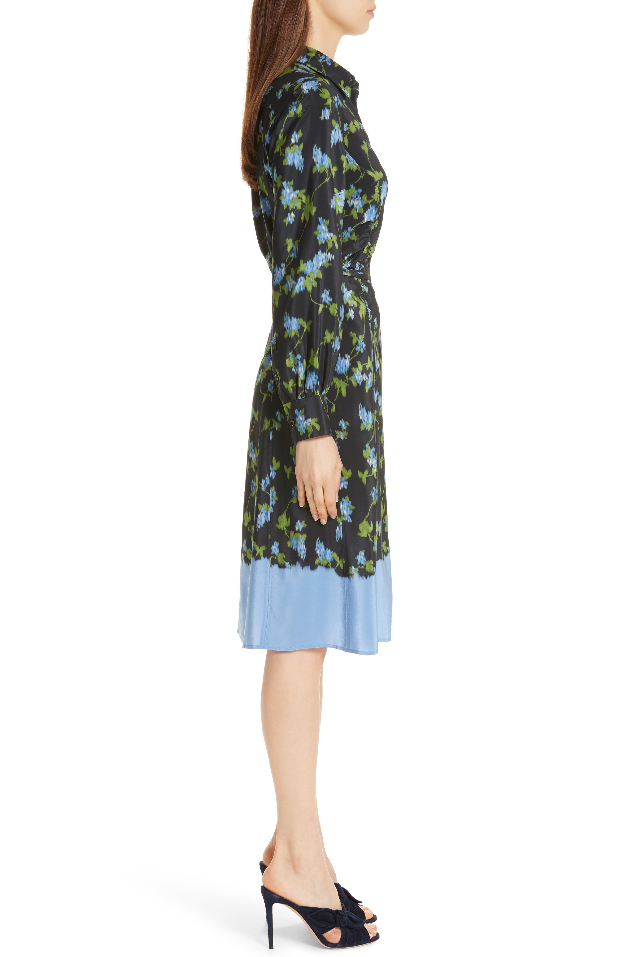 ALTUZARRA, Floral Print Silk Dress, Alternate thumbnail 4, color, BLACK