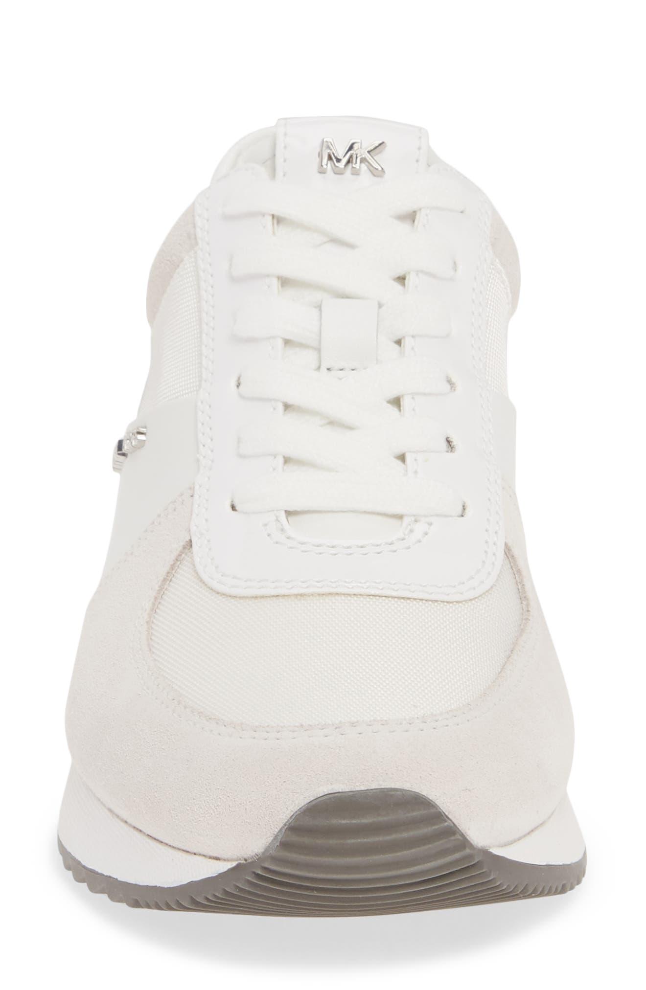 MICHAEL MICHAEL KORS, 'Allie' Sneaker, Alternate thumbnail 4, color, OPTIC WHITE LEATHER/ CANVAS