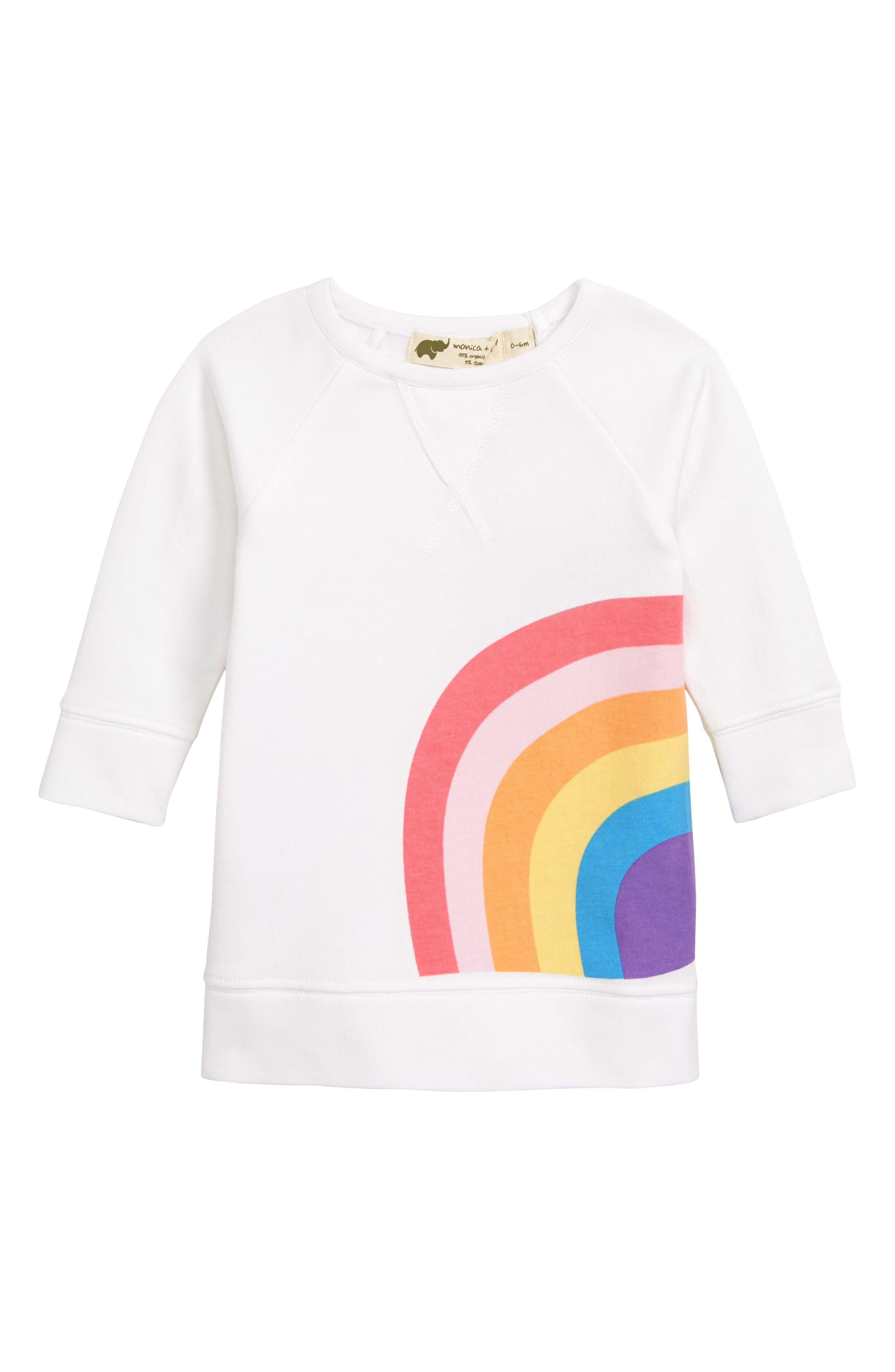 MONICA + ANDY Varsity Sweatshirt Dress, Main, color, 100