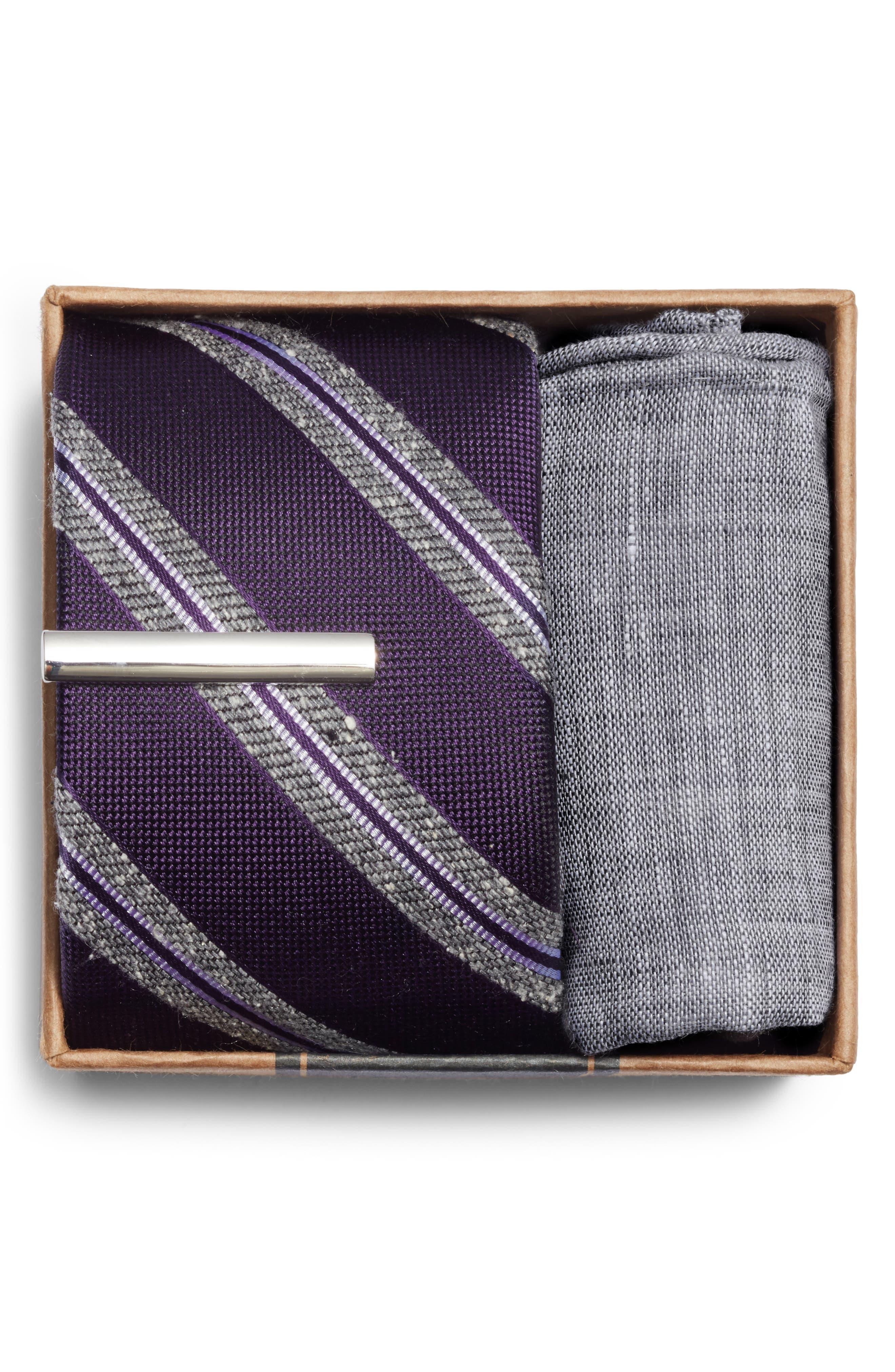 THE TIE BAR, Edison Stripe 3-Piece Skinny Tie Style Box, Alternate thumbnail 2, color, EGGPLANT
