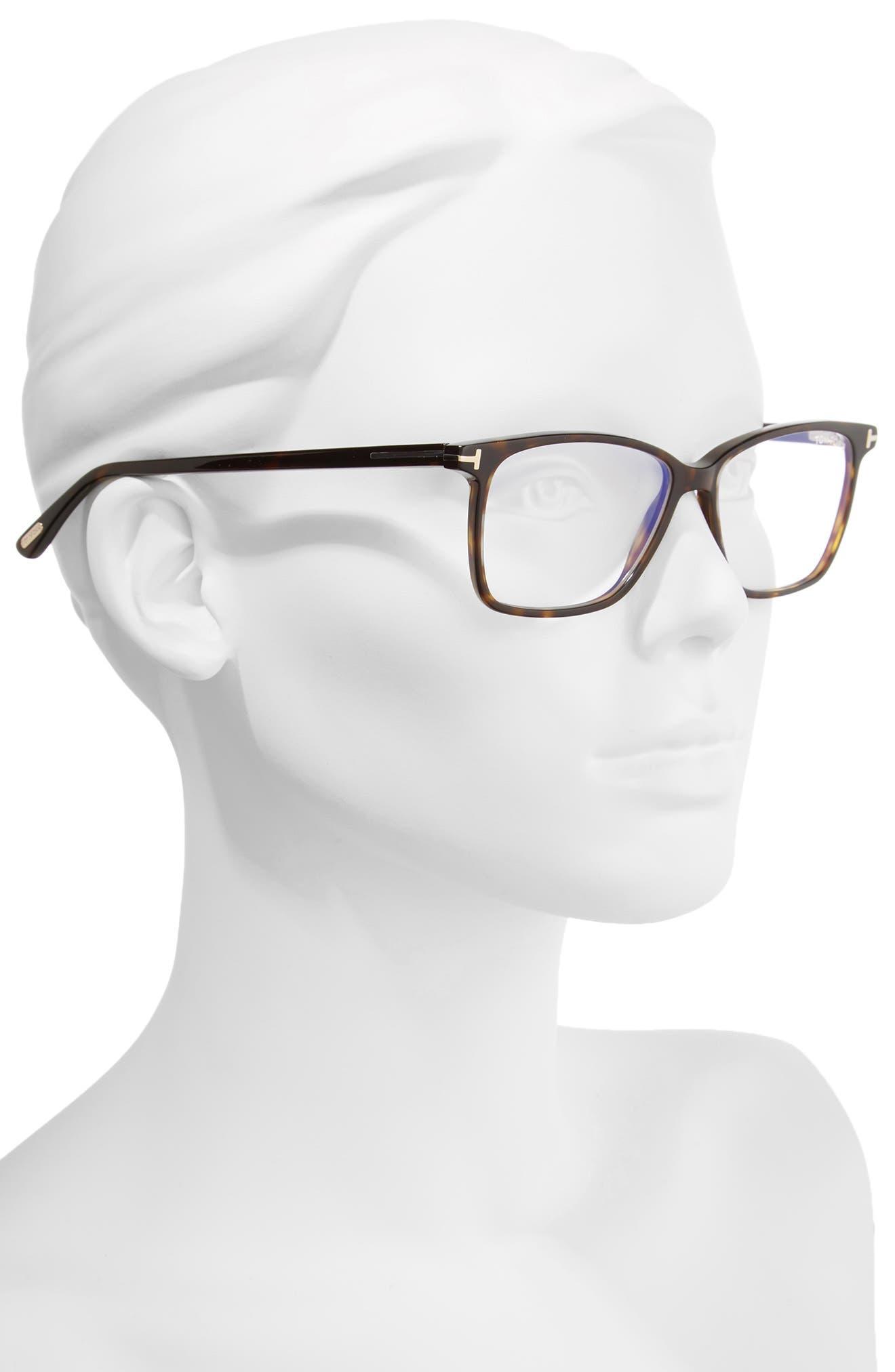 TOM FORD, 55mm Blue Block Optical Glasses, Alternate thumbnail 2, color, DARK HAVANA/ BLUE