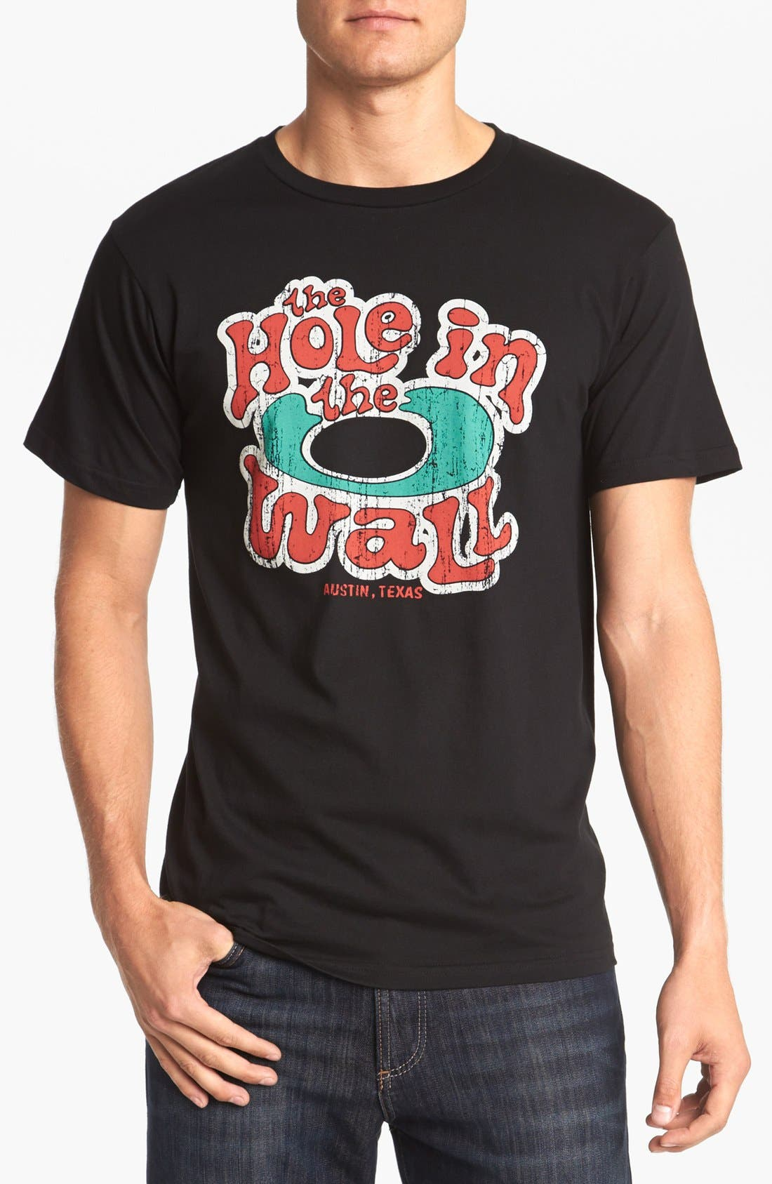 HORSES CUT SHOP, 'Hole In The Wall' T-Shirt, Main thumbnail 1, color, 001