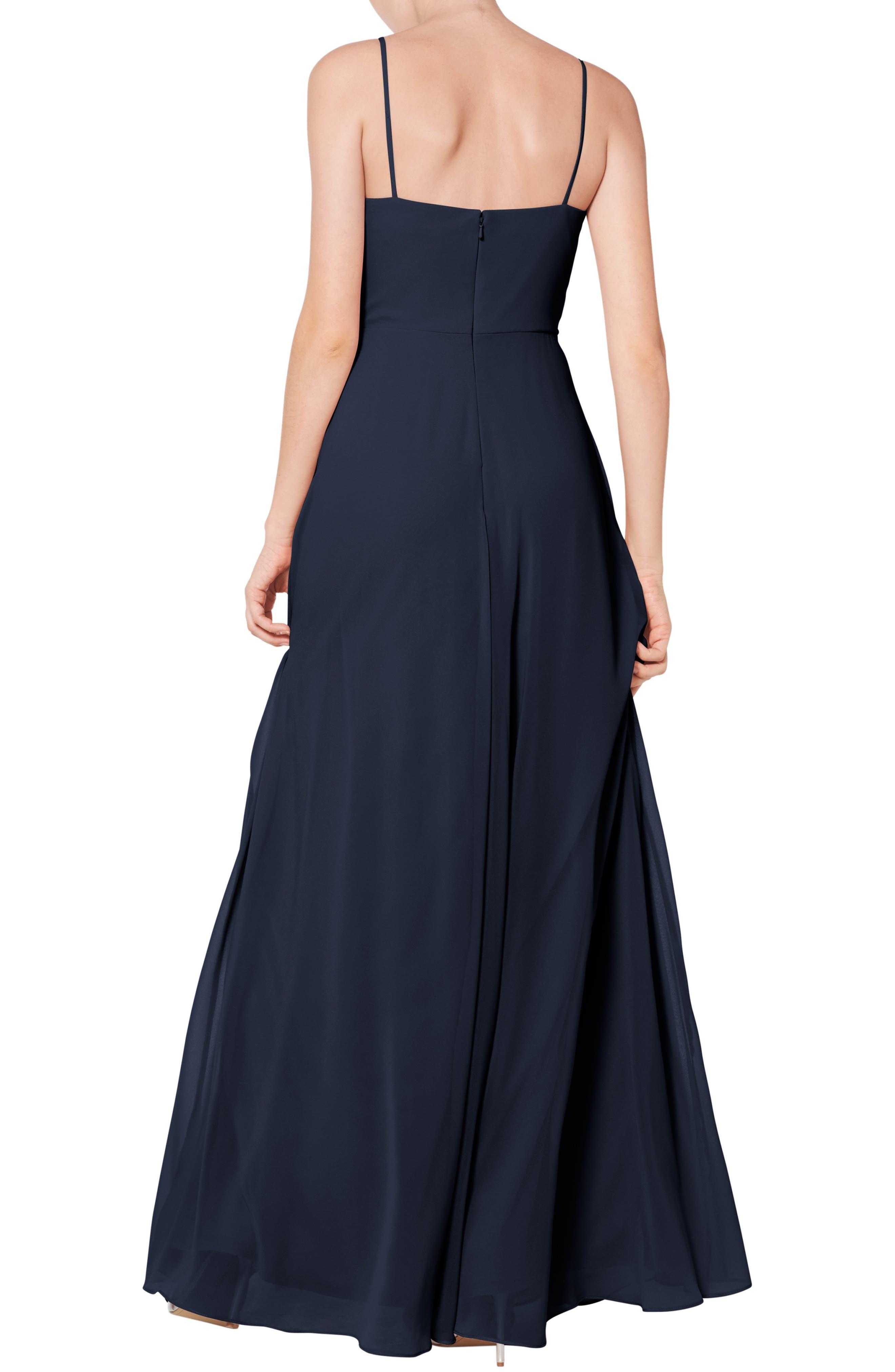 #LEVKOFF, Surplice Neck Chiffon Evening Dress, Alternate thumbnail 2, color, NAVY