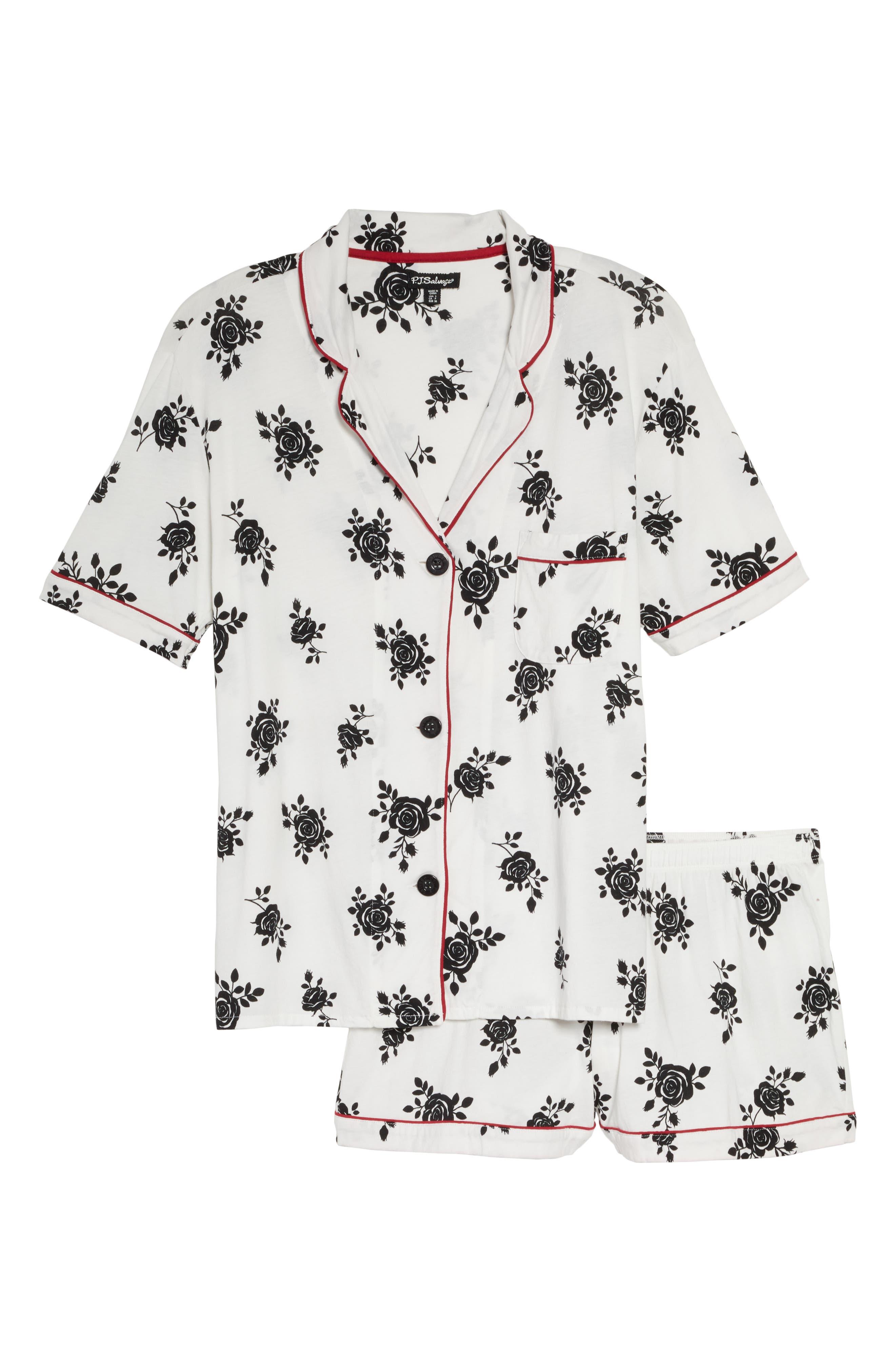 PJ SALVAGE, Give Love Short Pajamas, Alternate thumbnail 6, color, IVORY