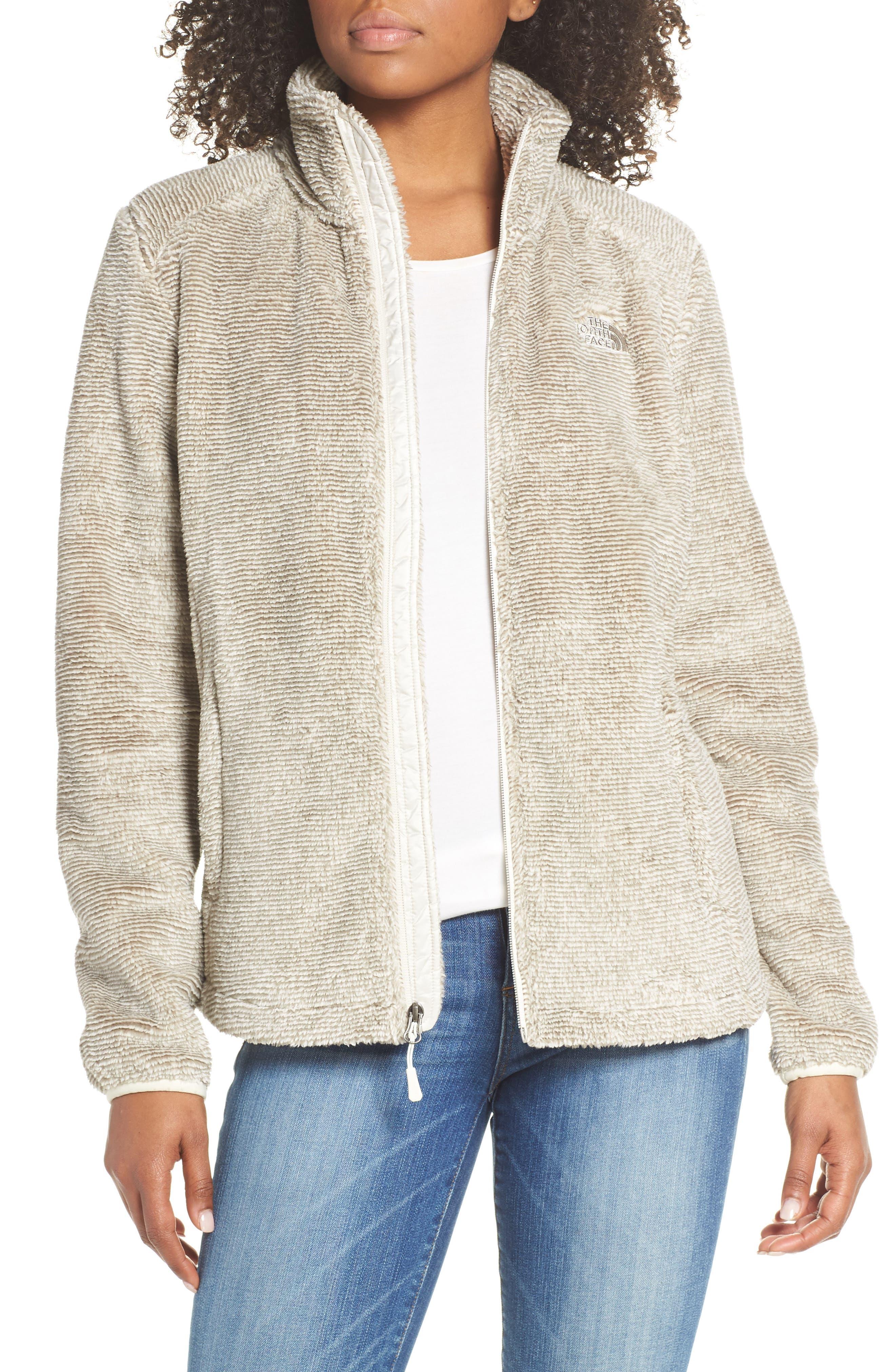THE NORTH FACE, Osito 2 Stripe Fleece Jacket, Main thumbnail 1, color, GREY/ VINTAGE WHITE STRIPE