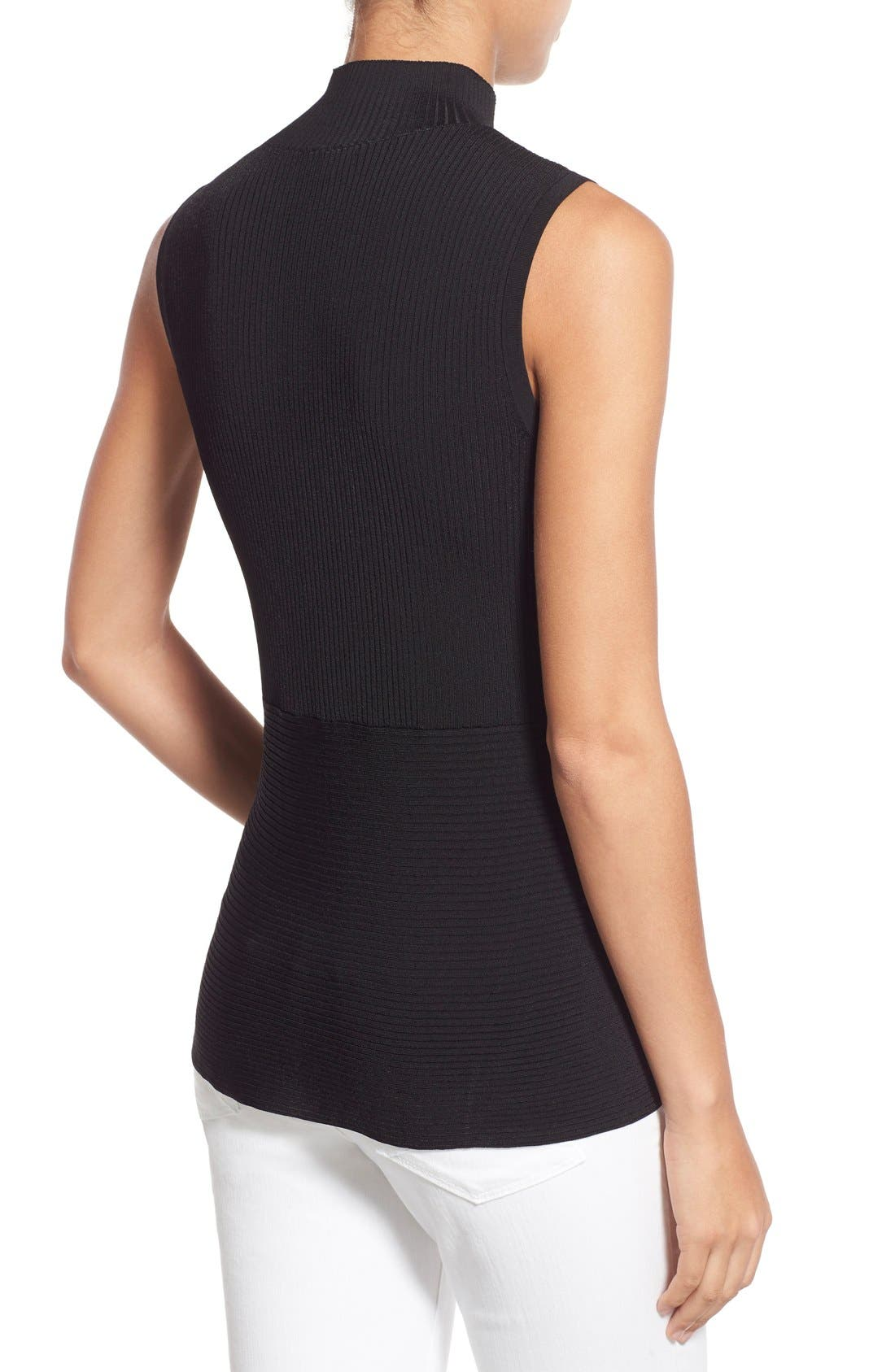 HALOGEN<SUP>®</SUP>, Ribbed Mock Neck Top, Alternate thumbnail 3, color, 001